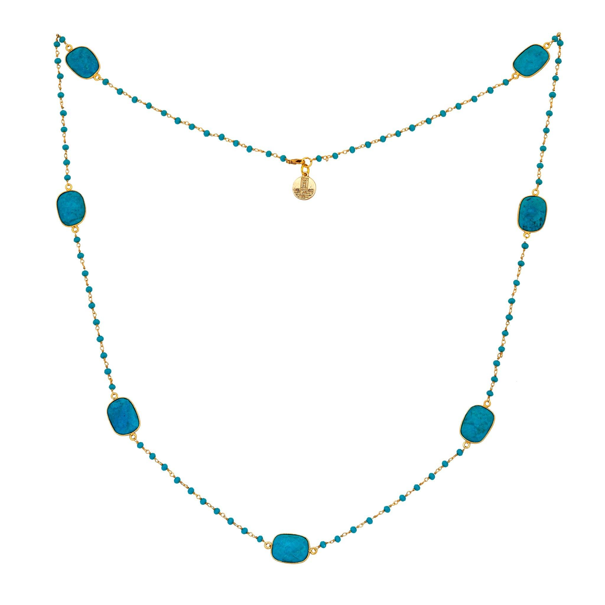 MOUSSON PERLEE turquoise station necklace with rosary chain - MadamSiam