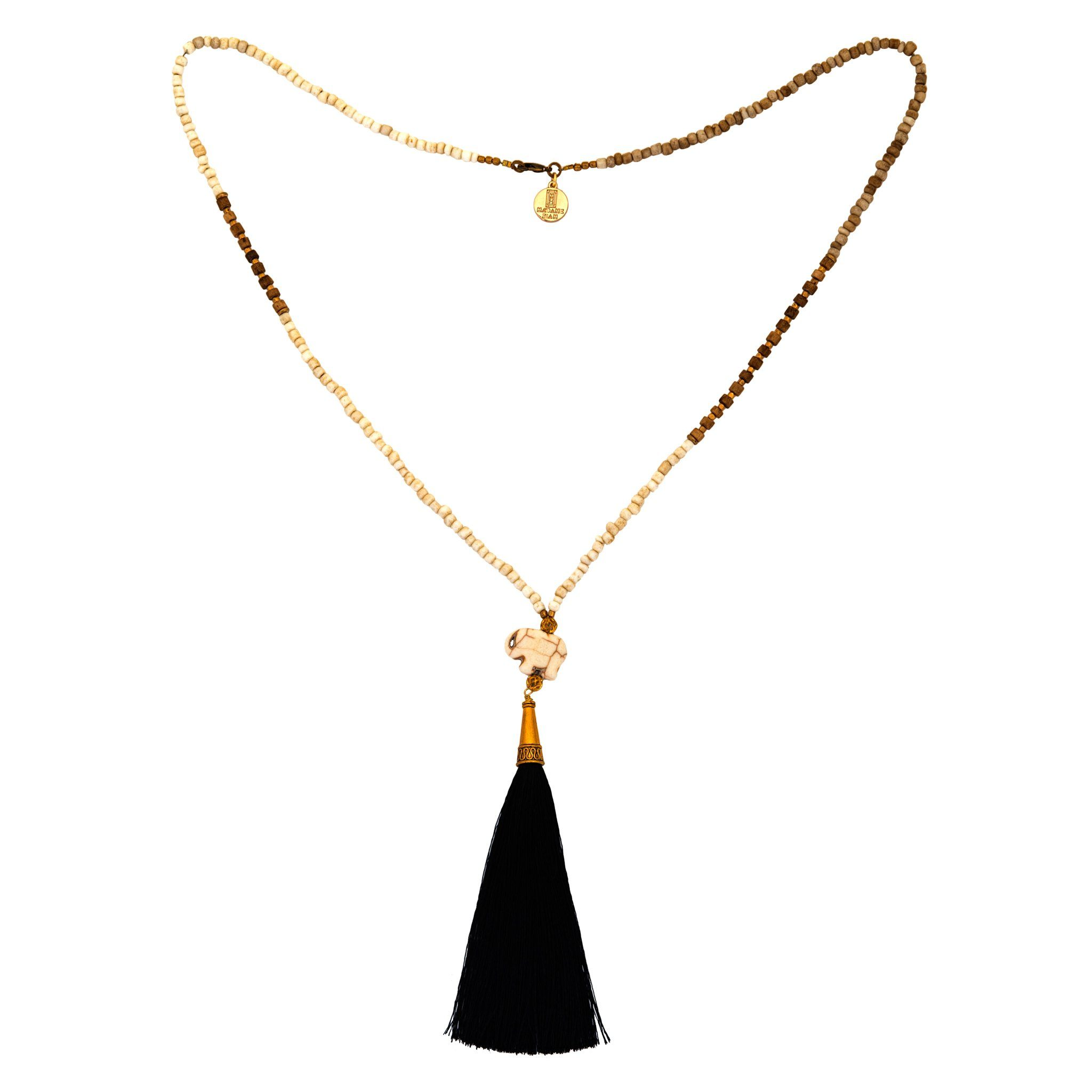 CHANG black and white tassel necklace