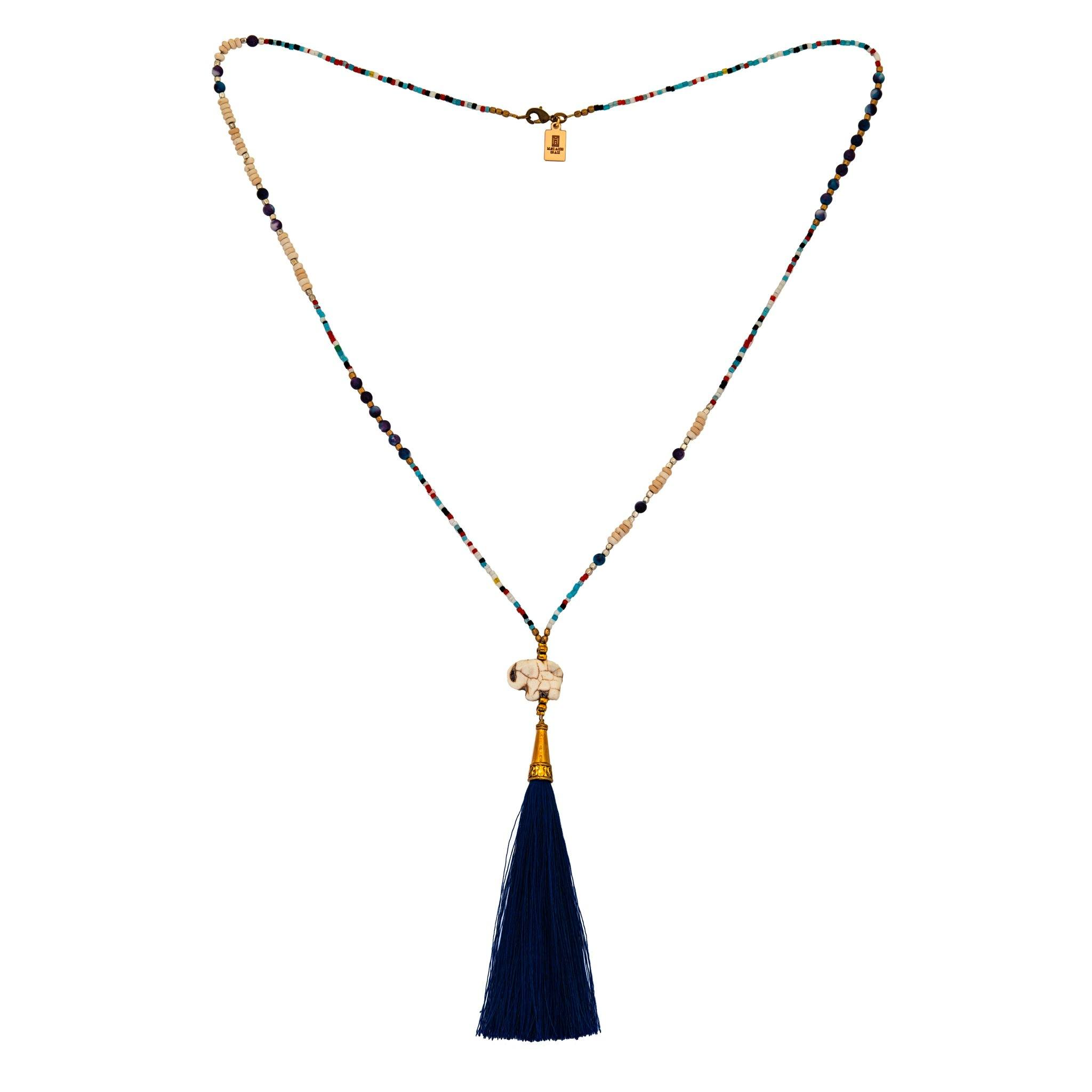 CHANG blue tassel necklace