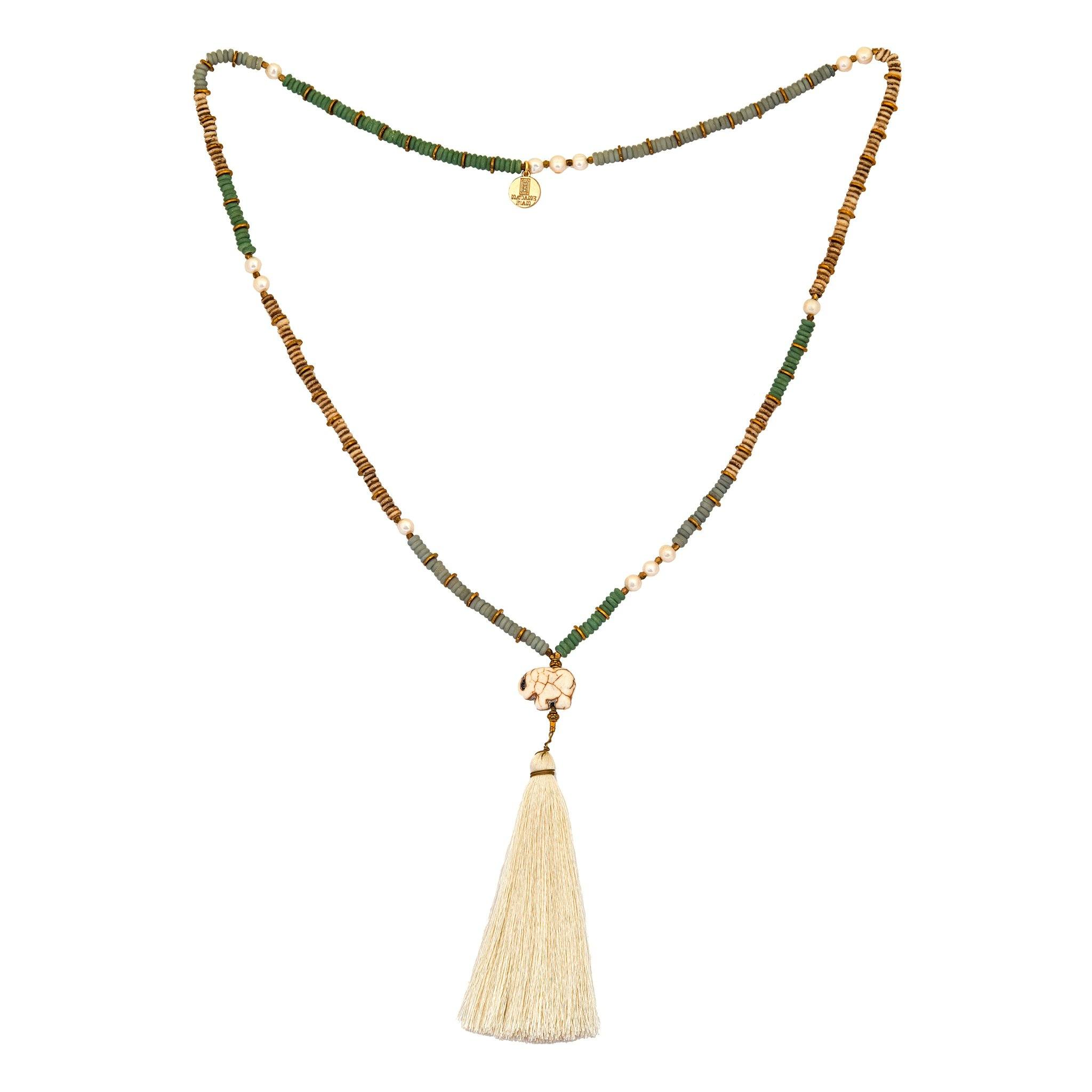 CHANG pearl tassel necklace
