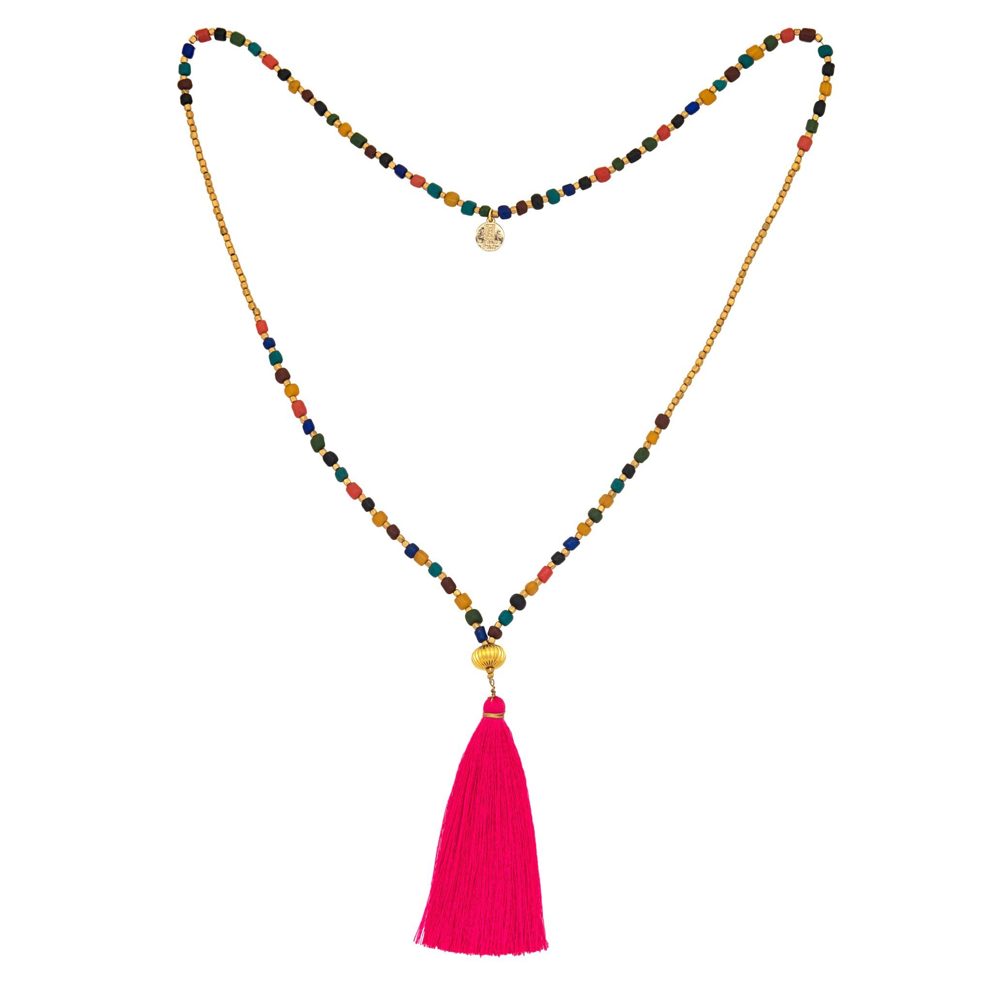 GOA pink tassel necklace - MadamSiam