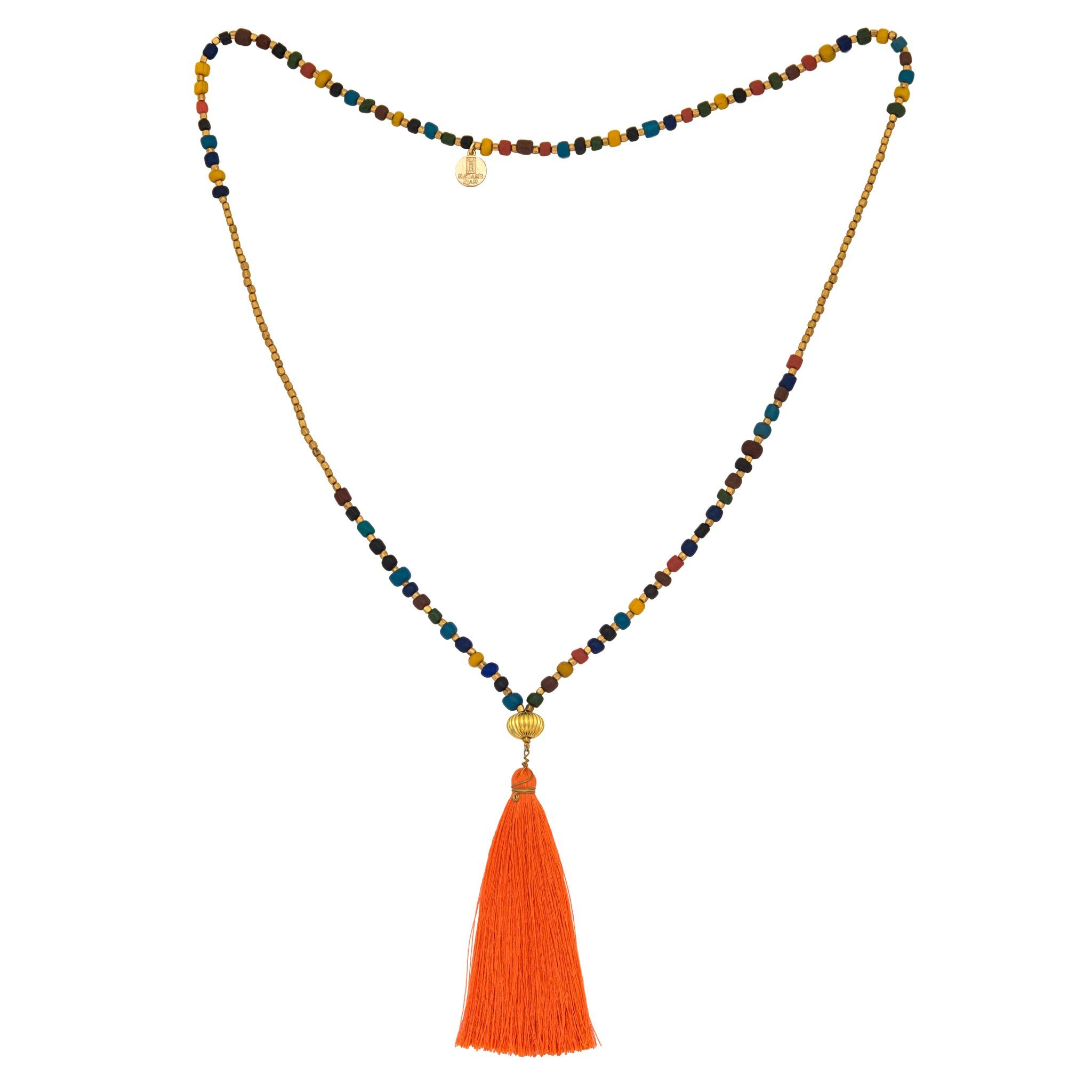 GOA orange tassel necklace