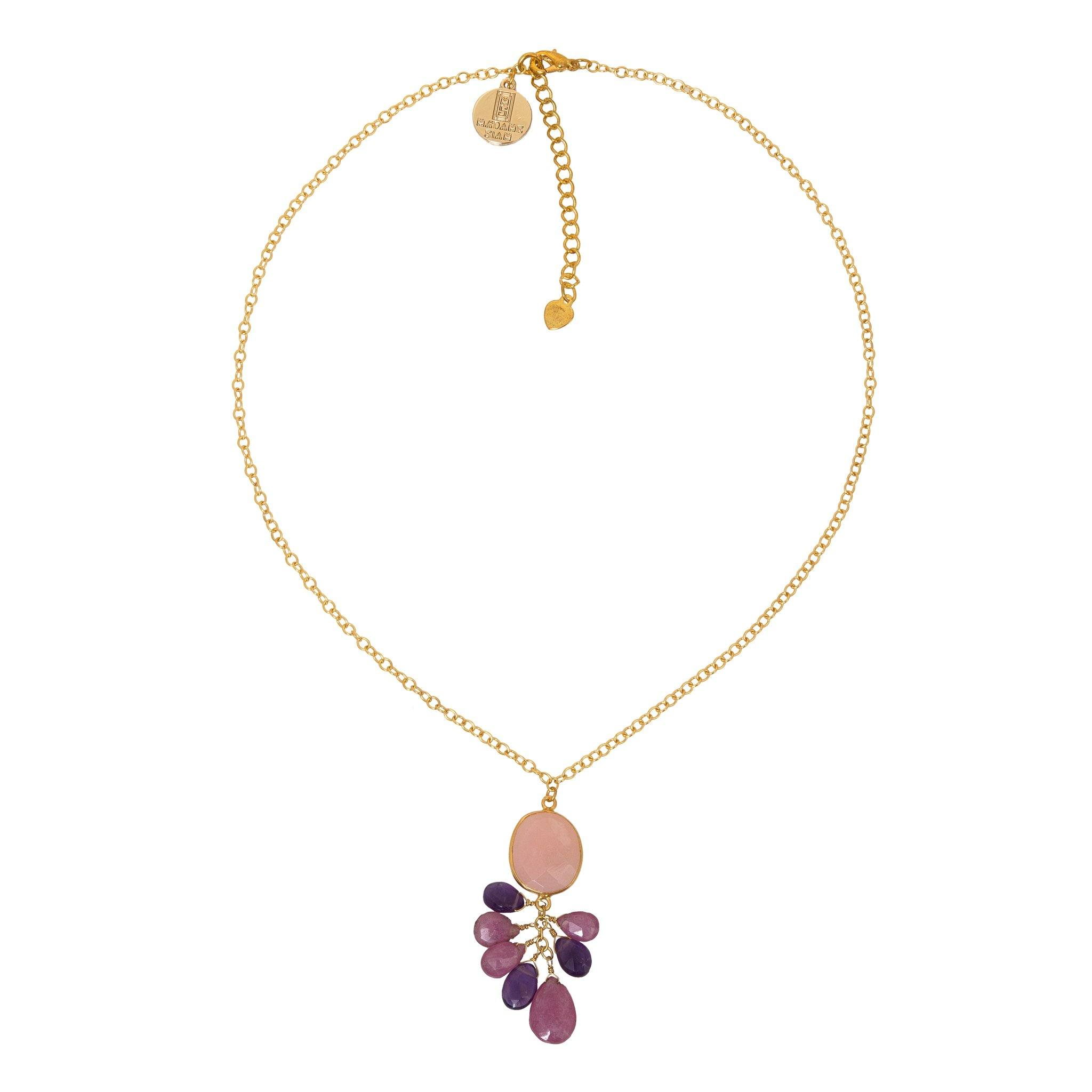 ROSA pink chocker with drops - MadamSiam