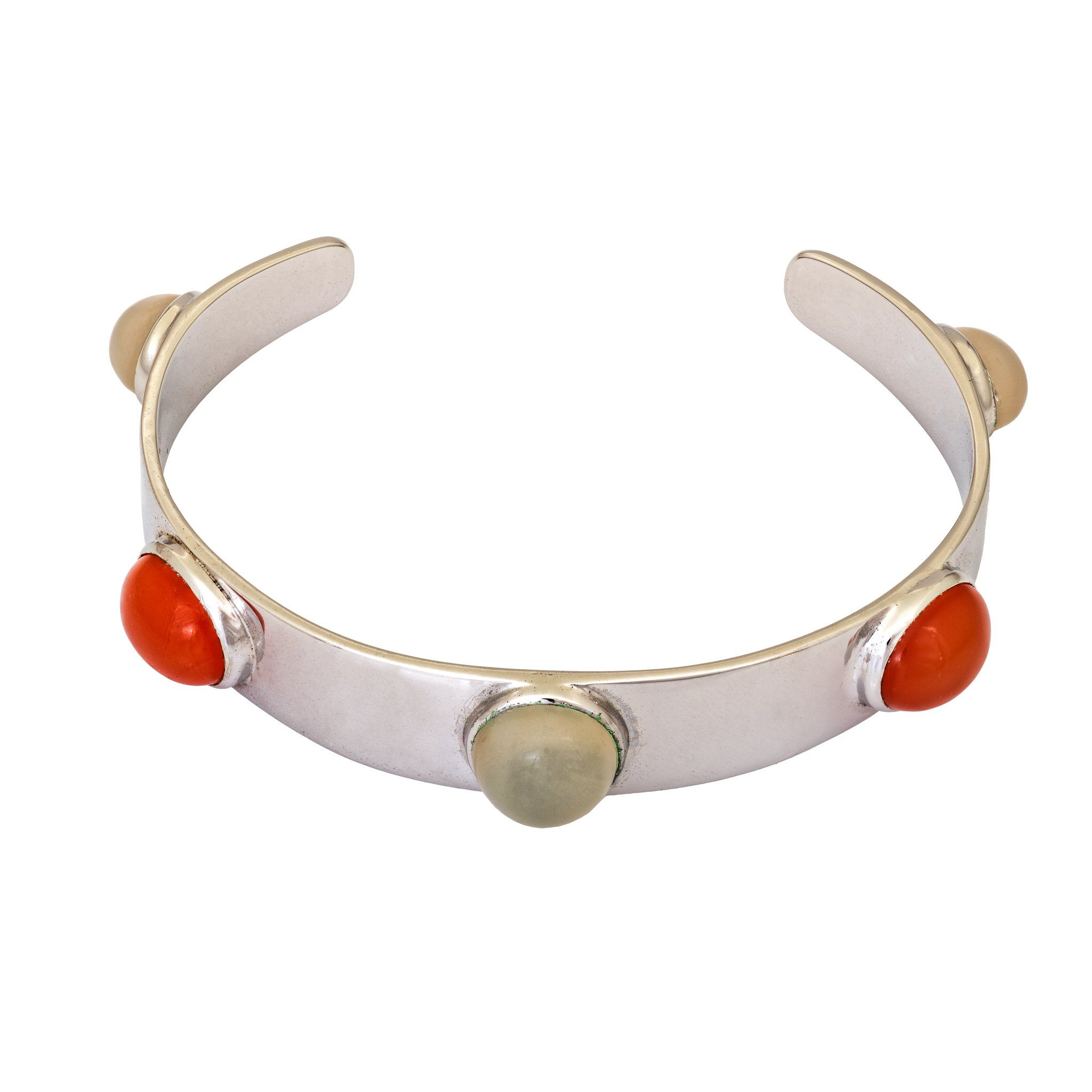 DAKERA moonstone and carnelian cabochon bangle - MadamSiam
