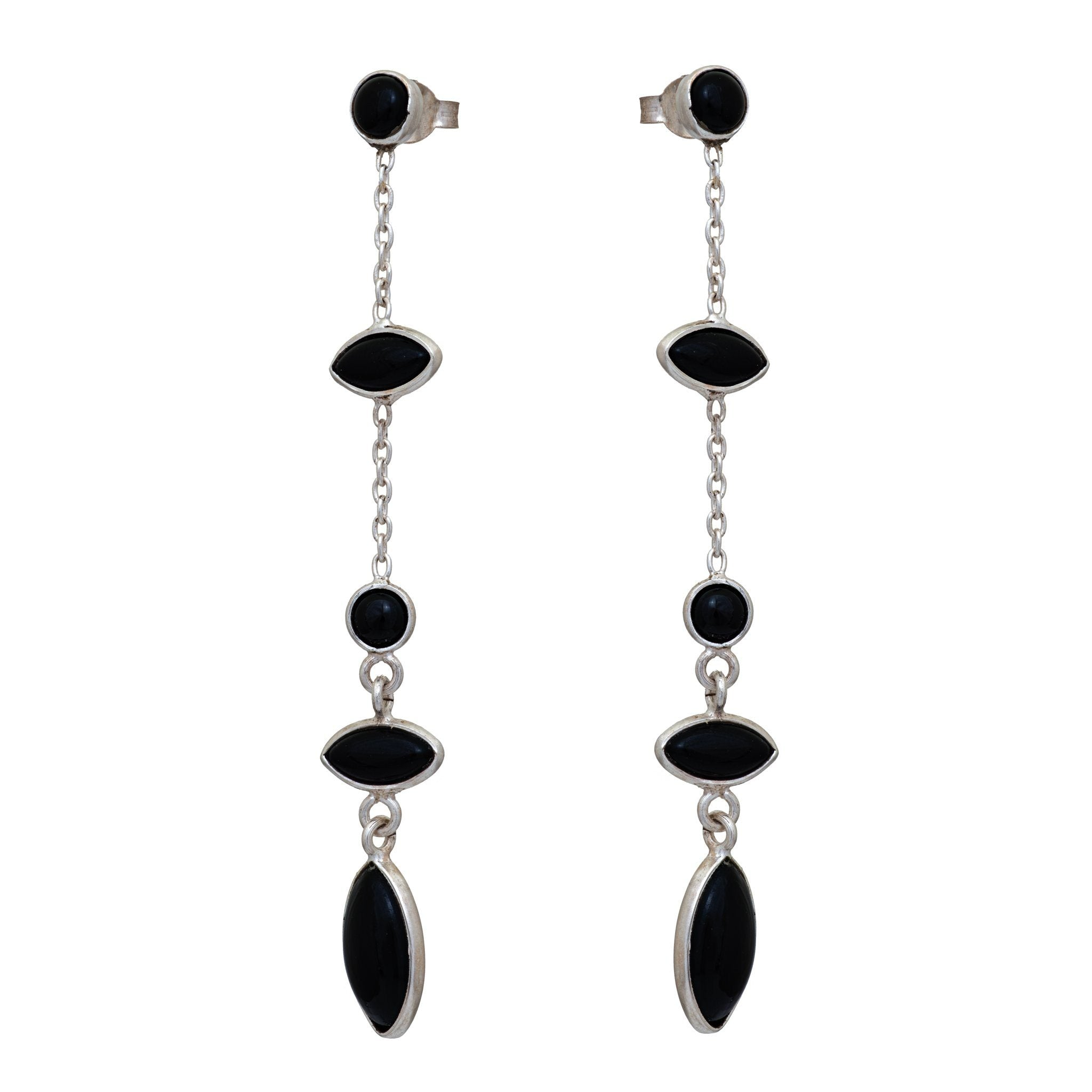 TA black onyx silver earrings - MadamSiam
