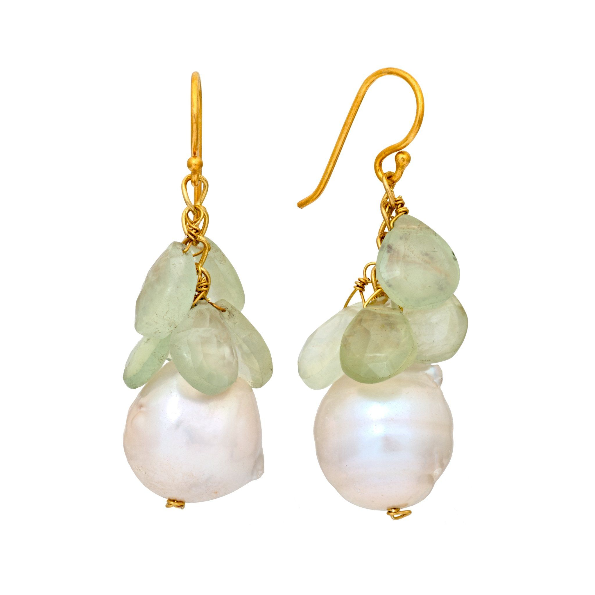 COCO pearl and green amethyst earrings - MadamSiam