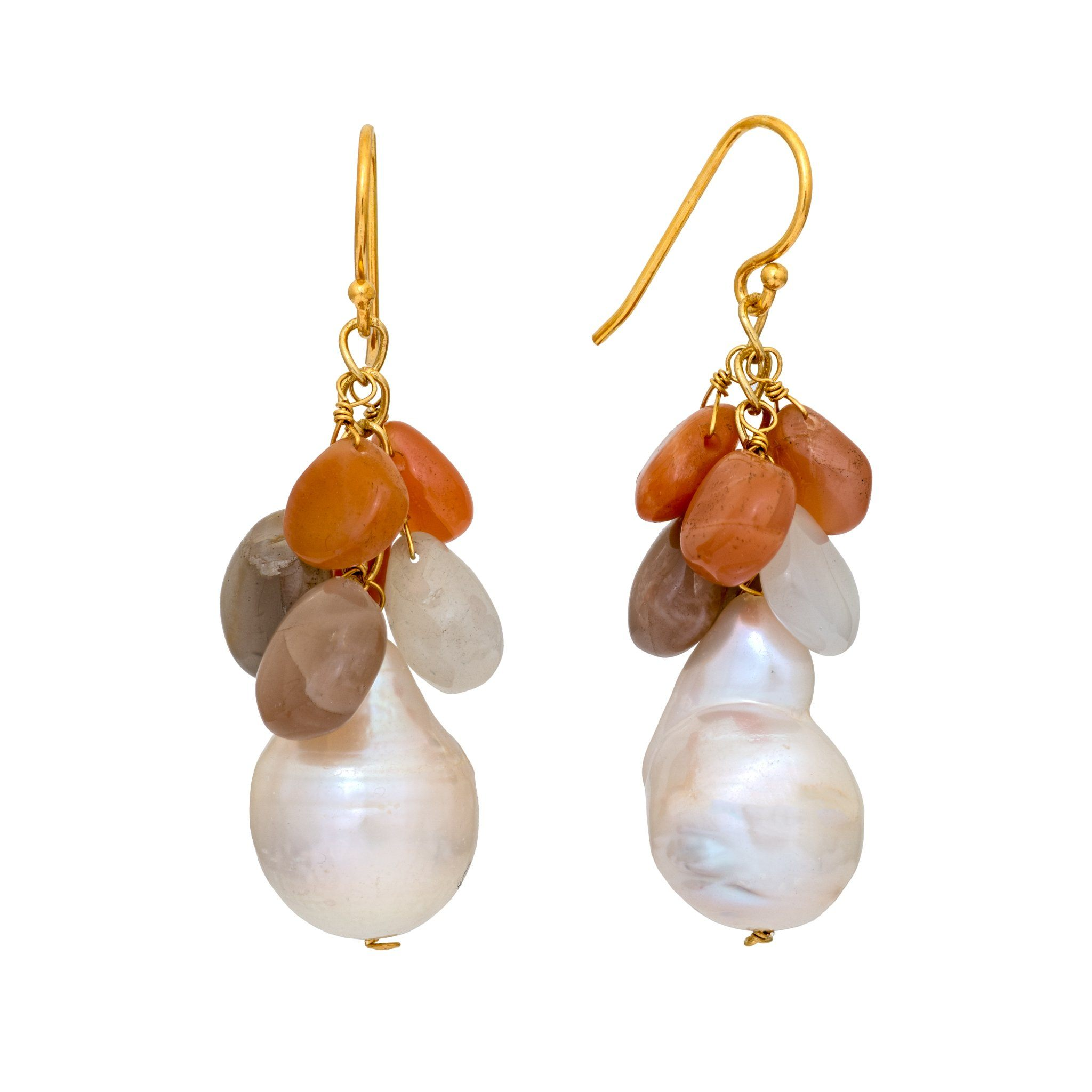 COCO pearl and mix and moonstone earrings - MadamSiam