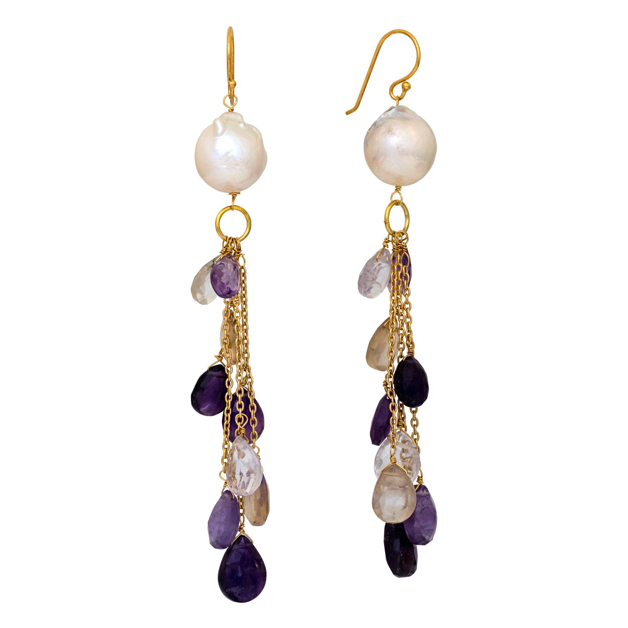 COCO pearl and amethyst long earrings with drops - MadamSiam