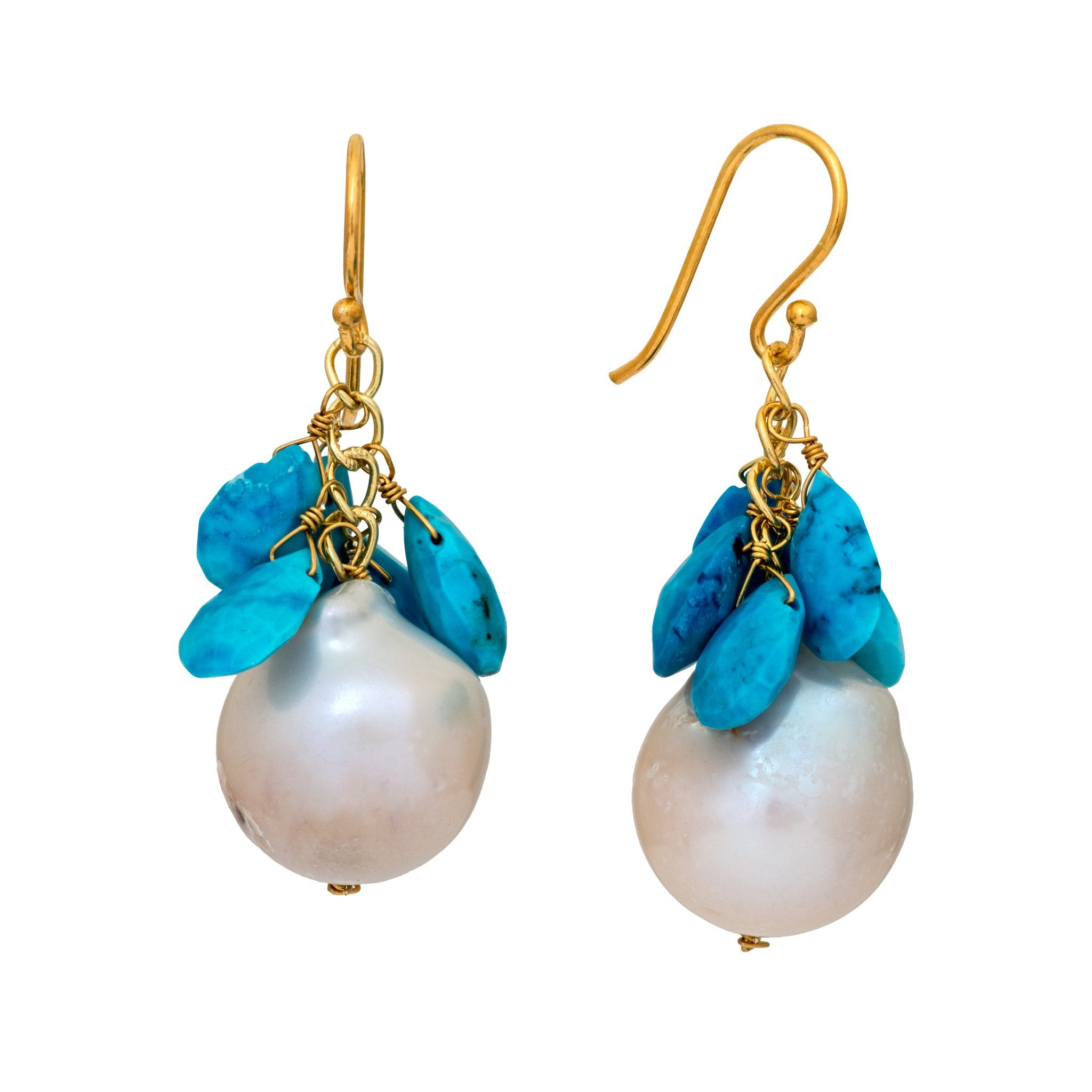 COCO pearl and turquoise earrings - MadamSiam
