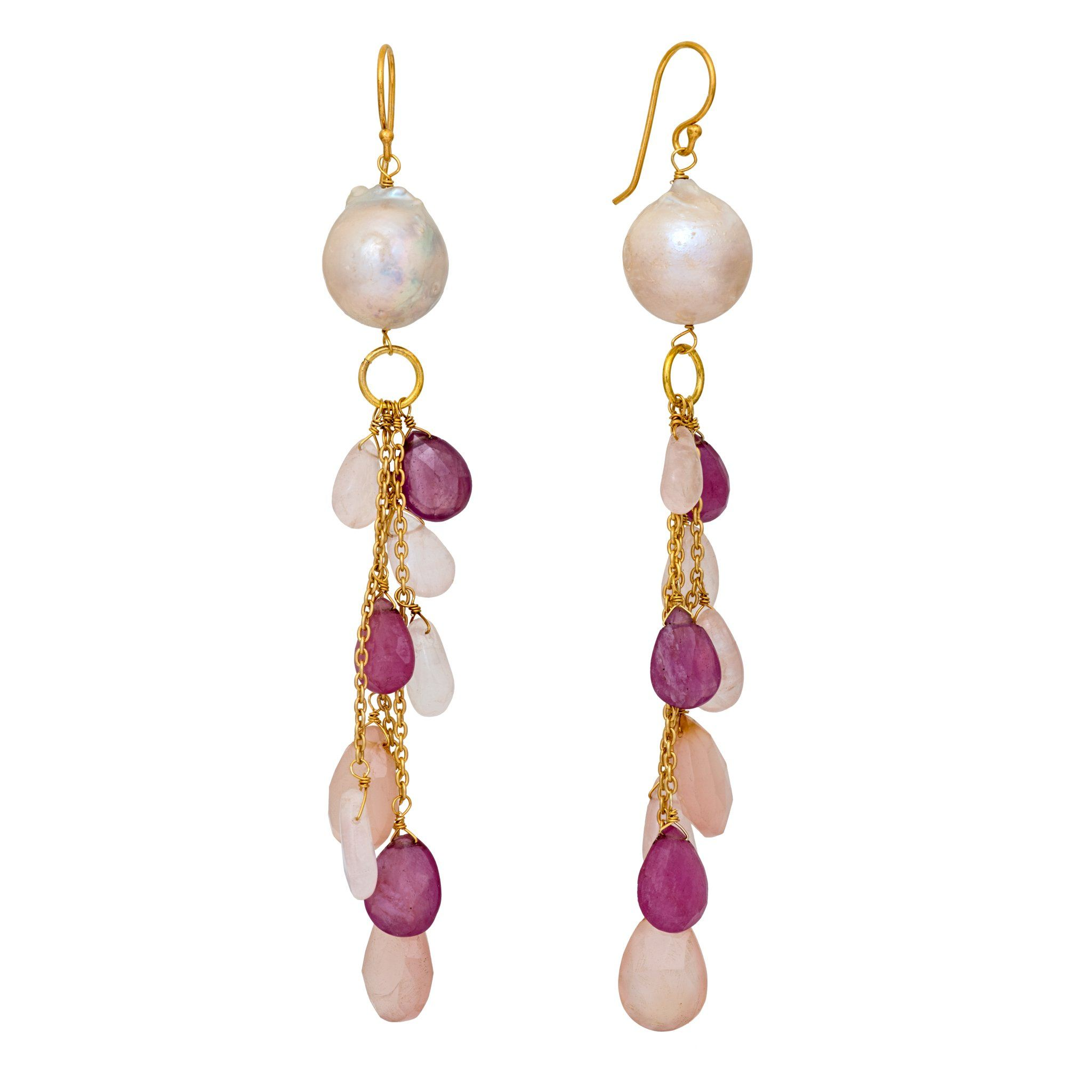 COCO pearl  and rose quartz long earrings with drops - MadamSiam