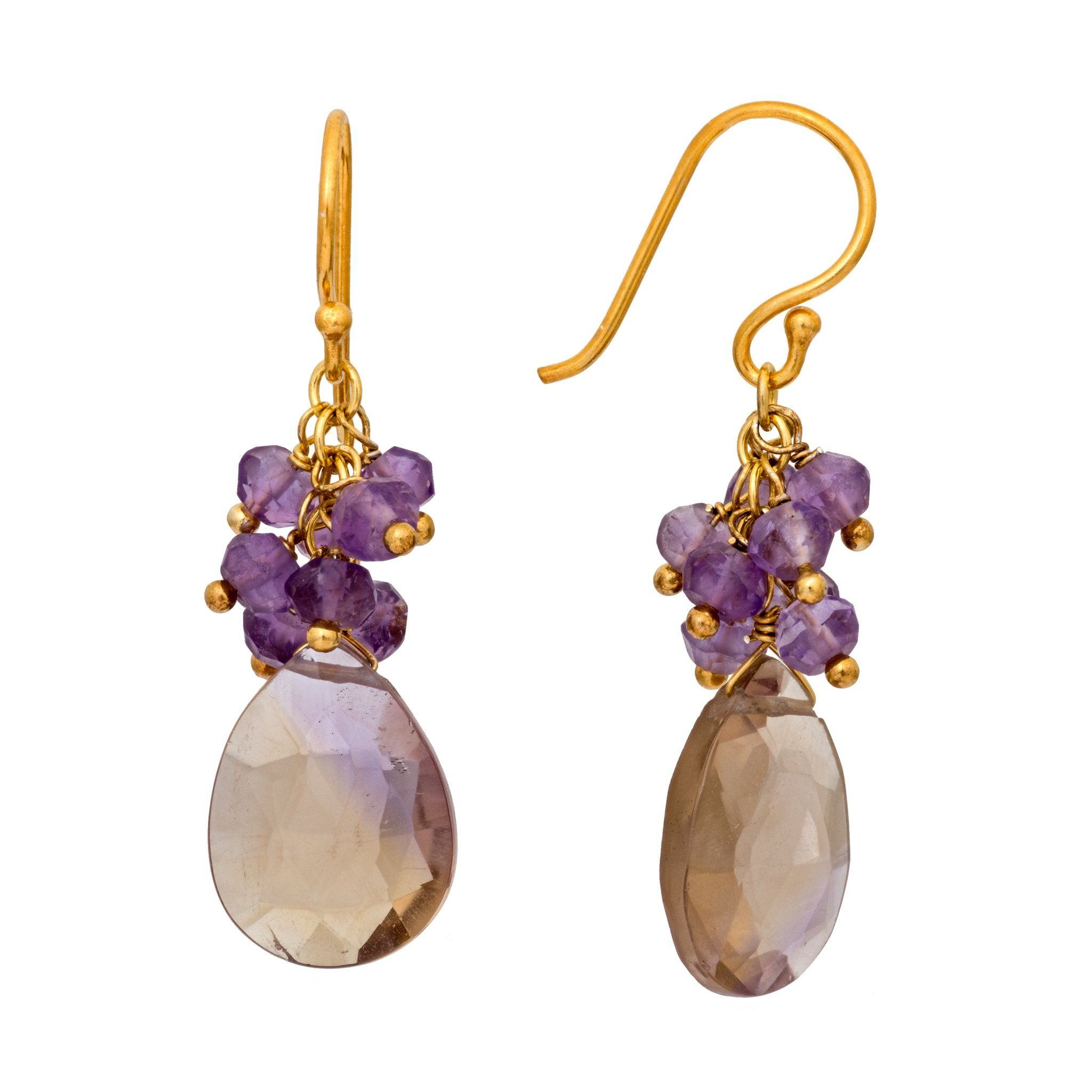 GRAPA amethyst cluster earrings - MadamSiam