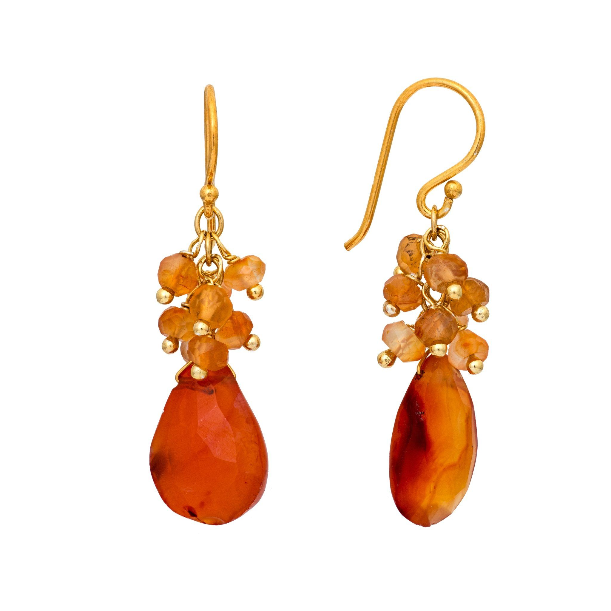 GRAPA carnelian cluster earrings - MadamSiam