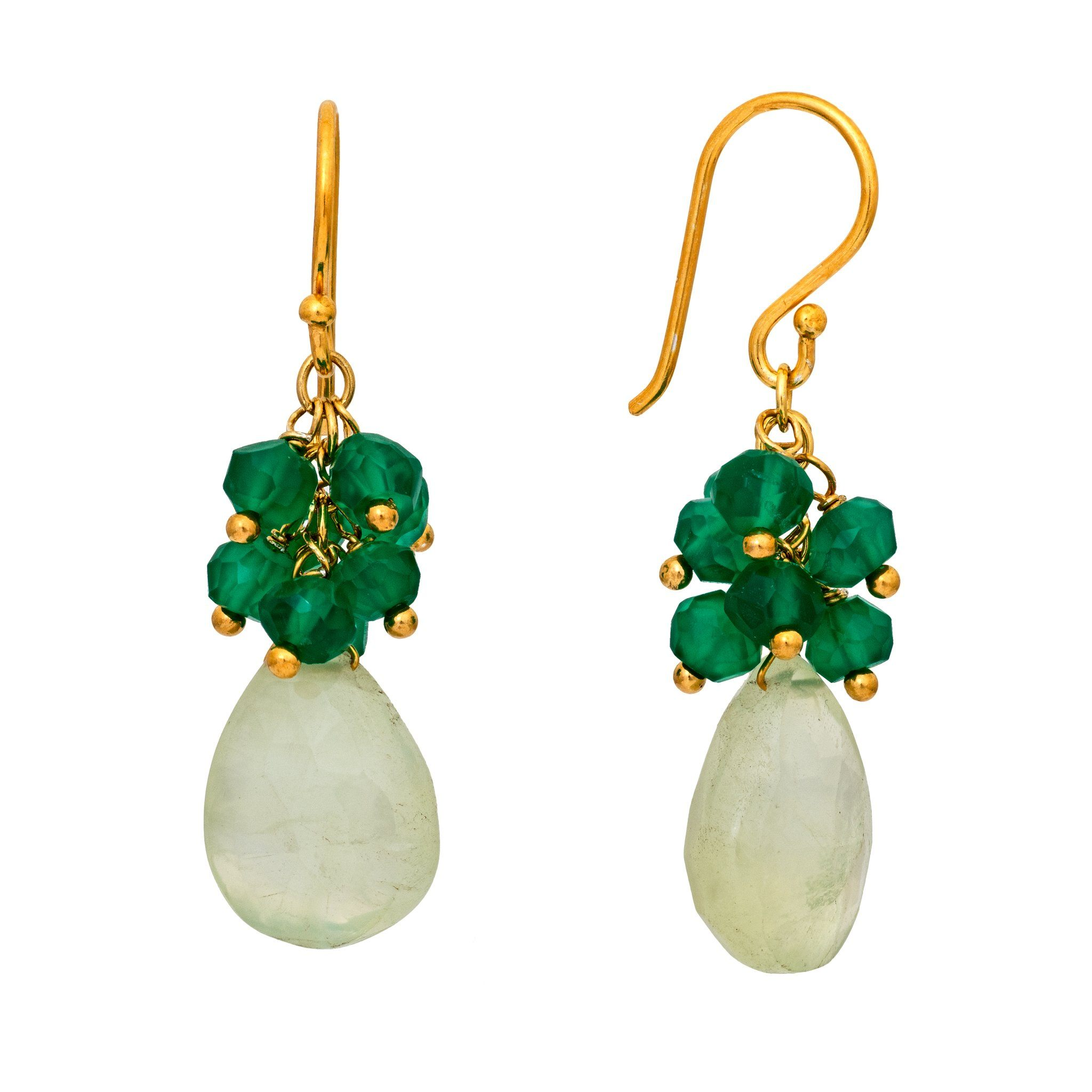 GRAPA green onyx cluster earrings