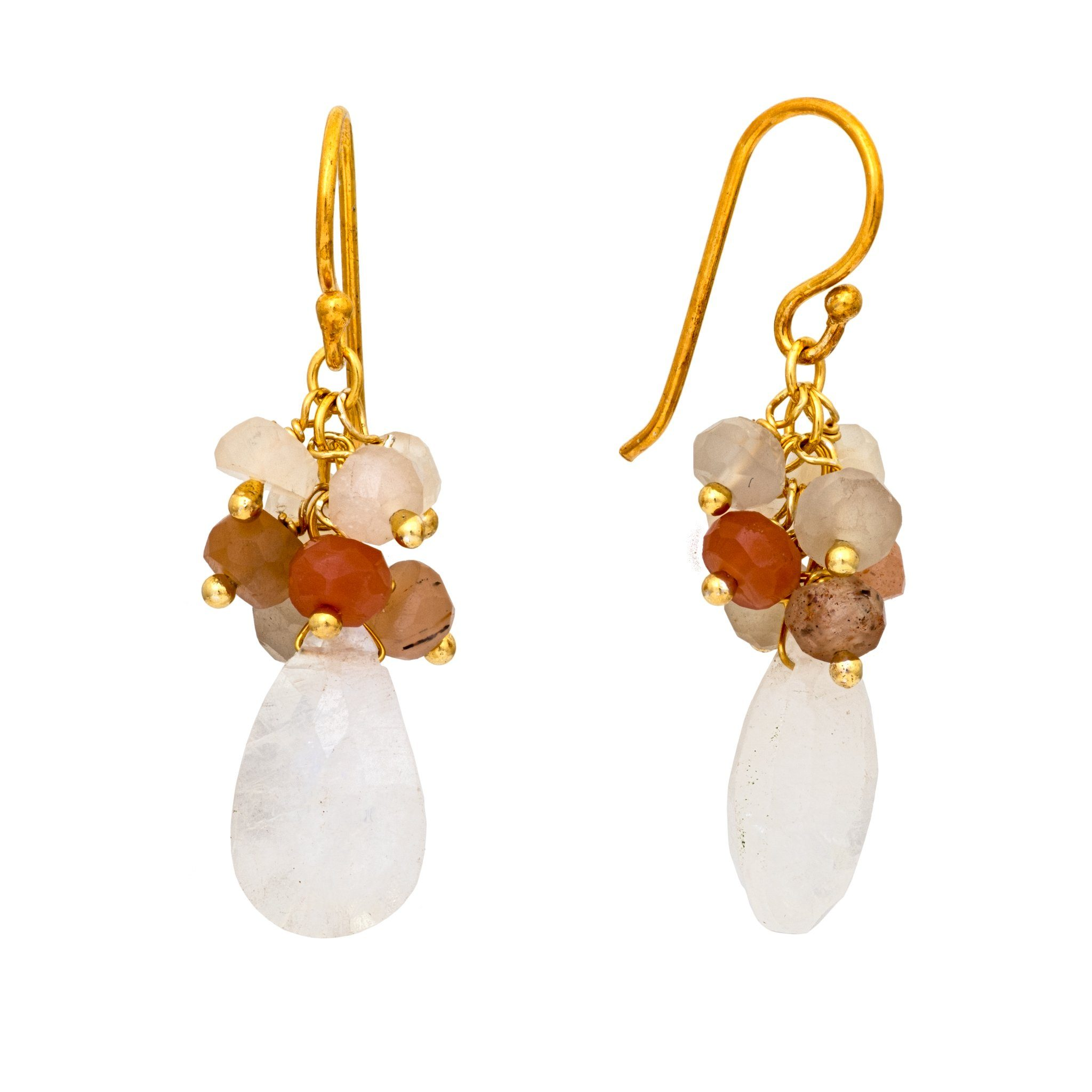 GRAPA mix of moonstone cluster earrings - MadamSiam