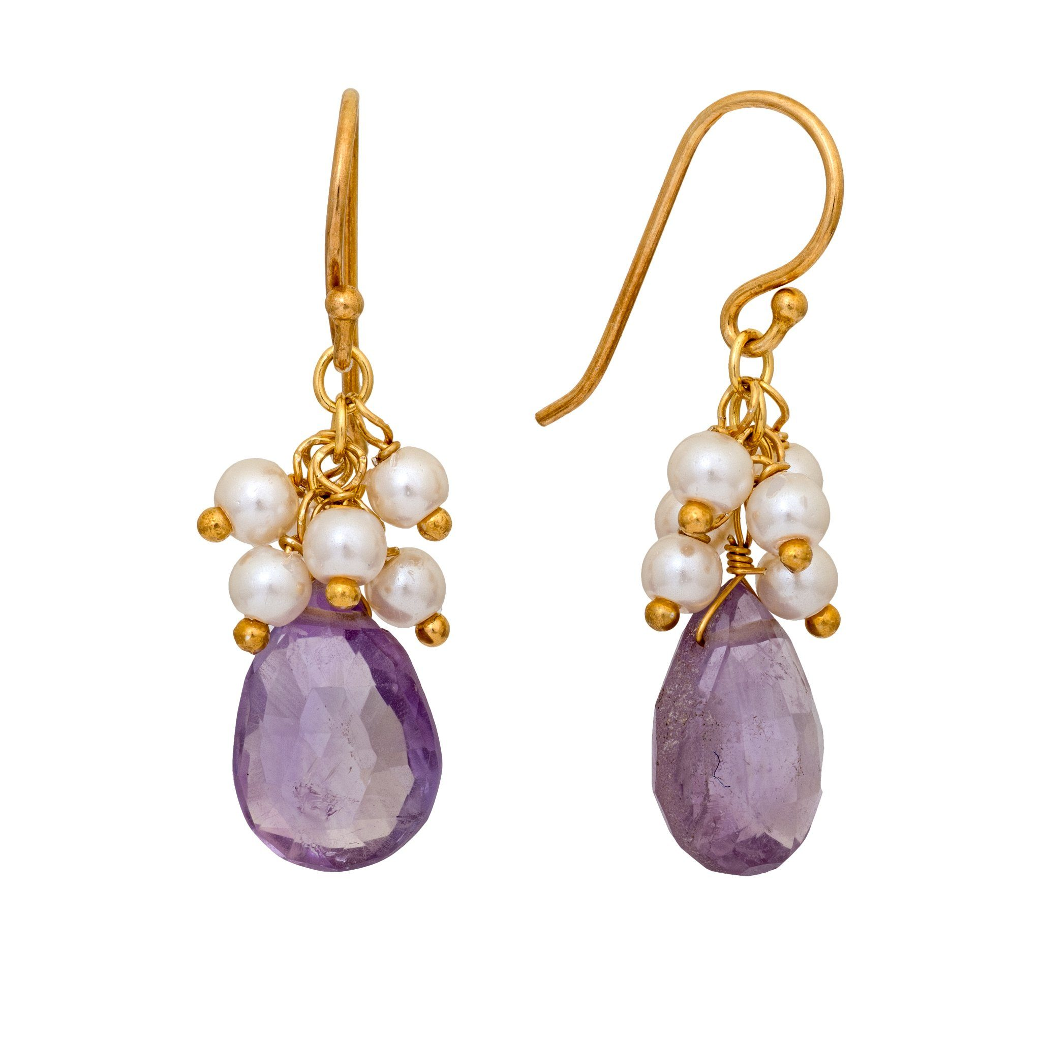 GRAPA amethyst and pearls cluster earrings