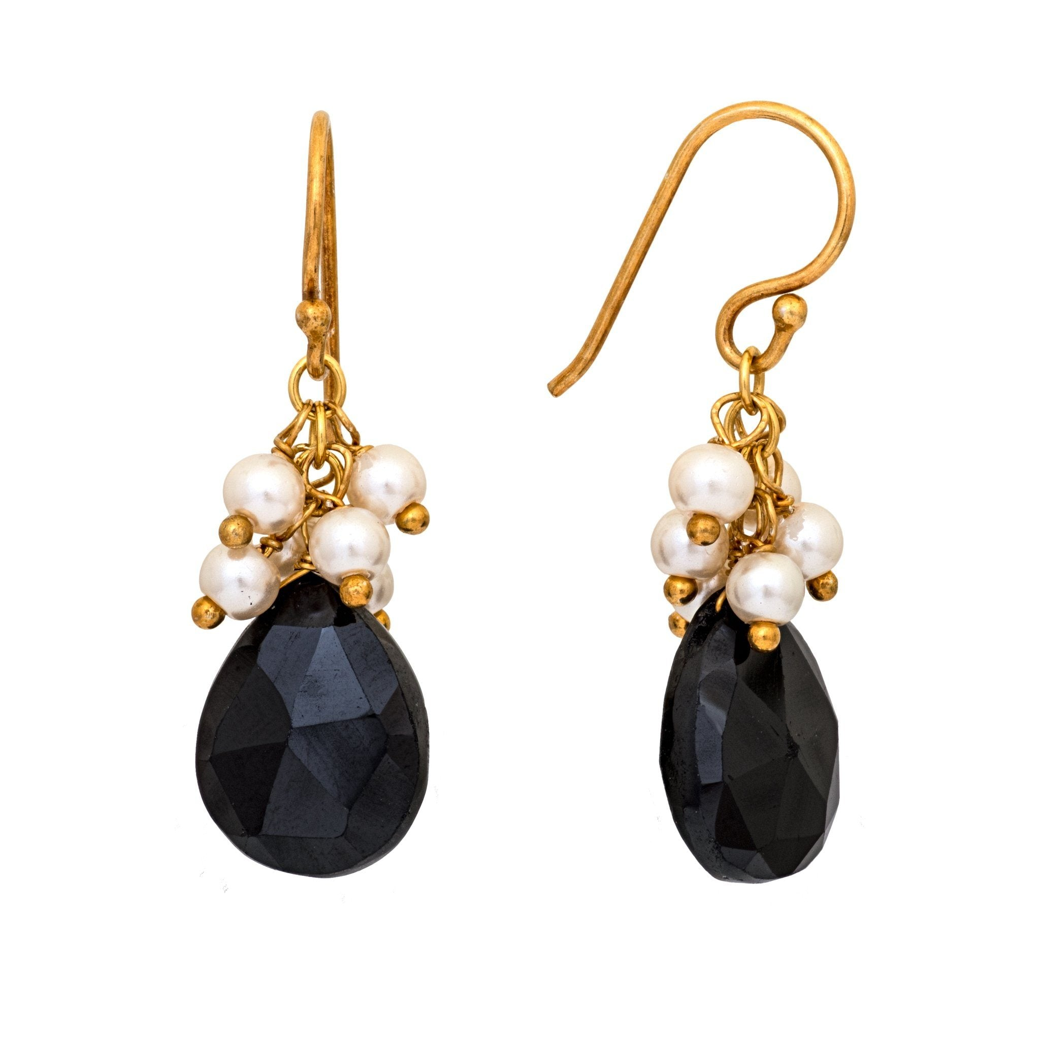 GRAPA black onyx and pearls cluster earrings - MadamSiam