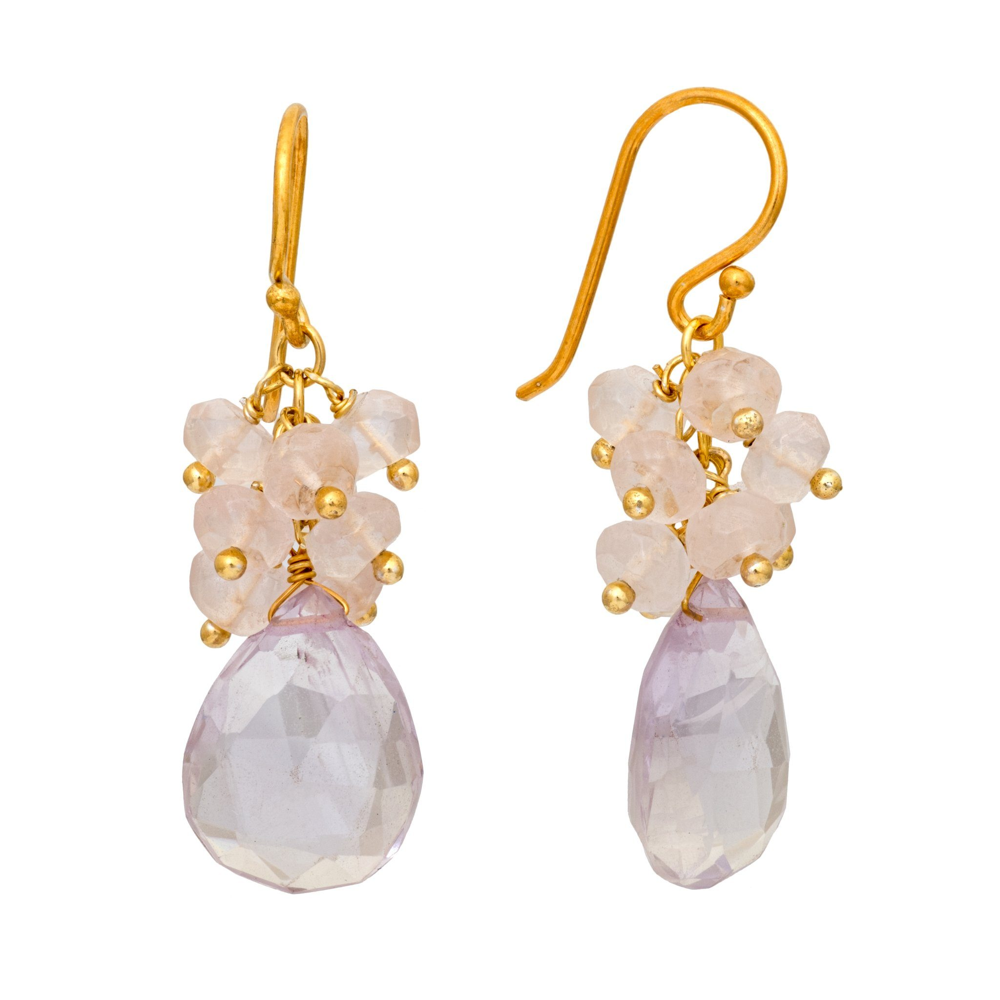 GRAPA rose quartz cluster earrings - MadamSiam