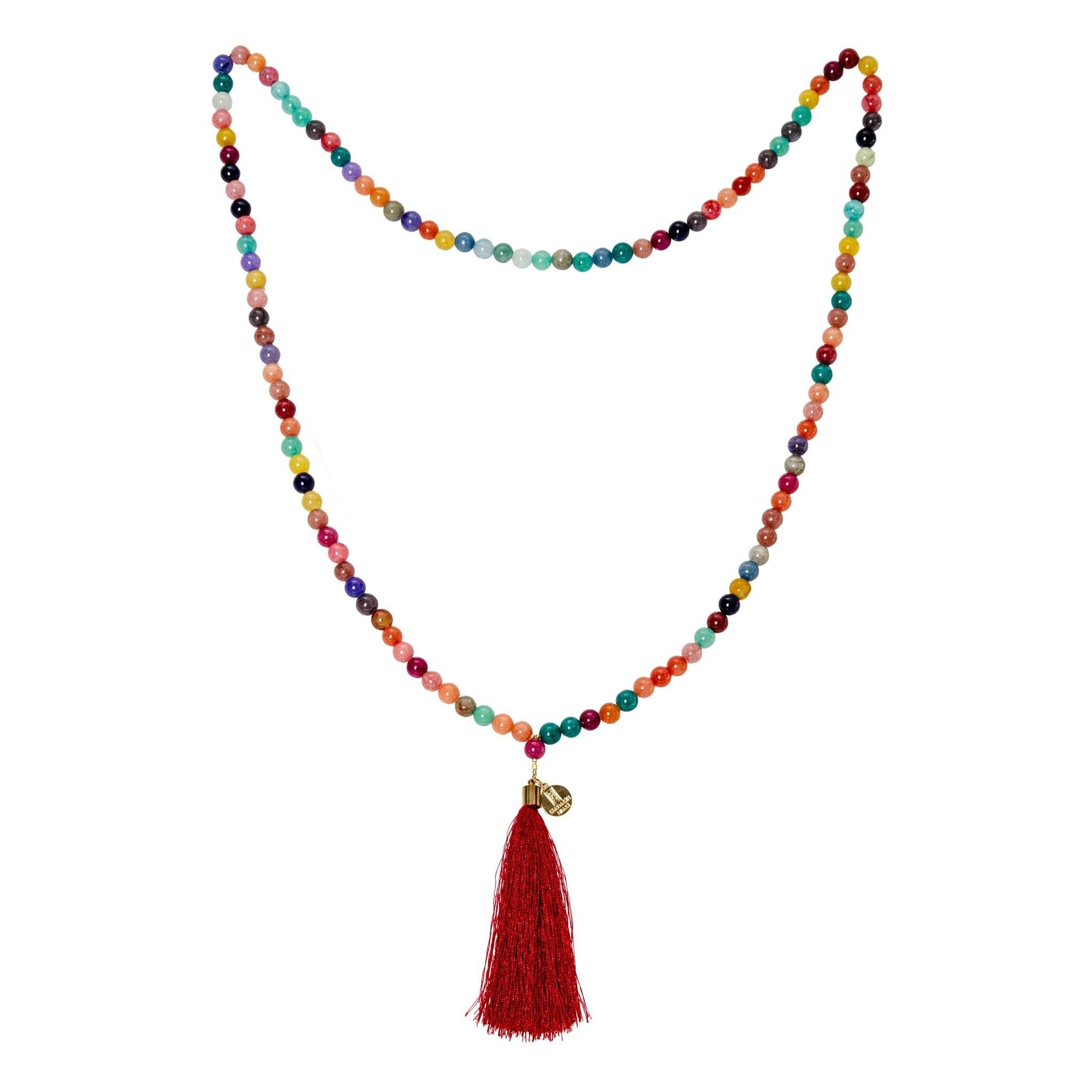 AGA multicolor agate long tassel necklace - MadamSiam
