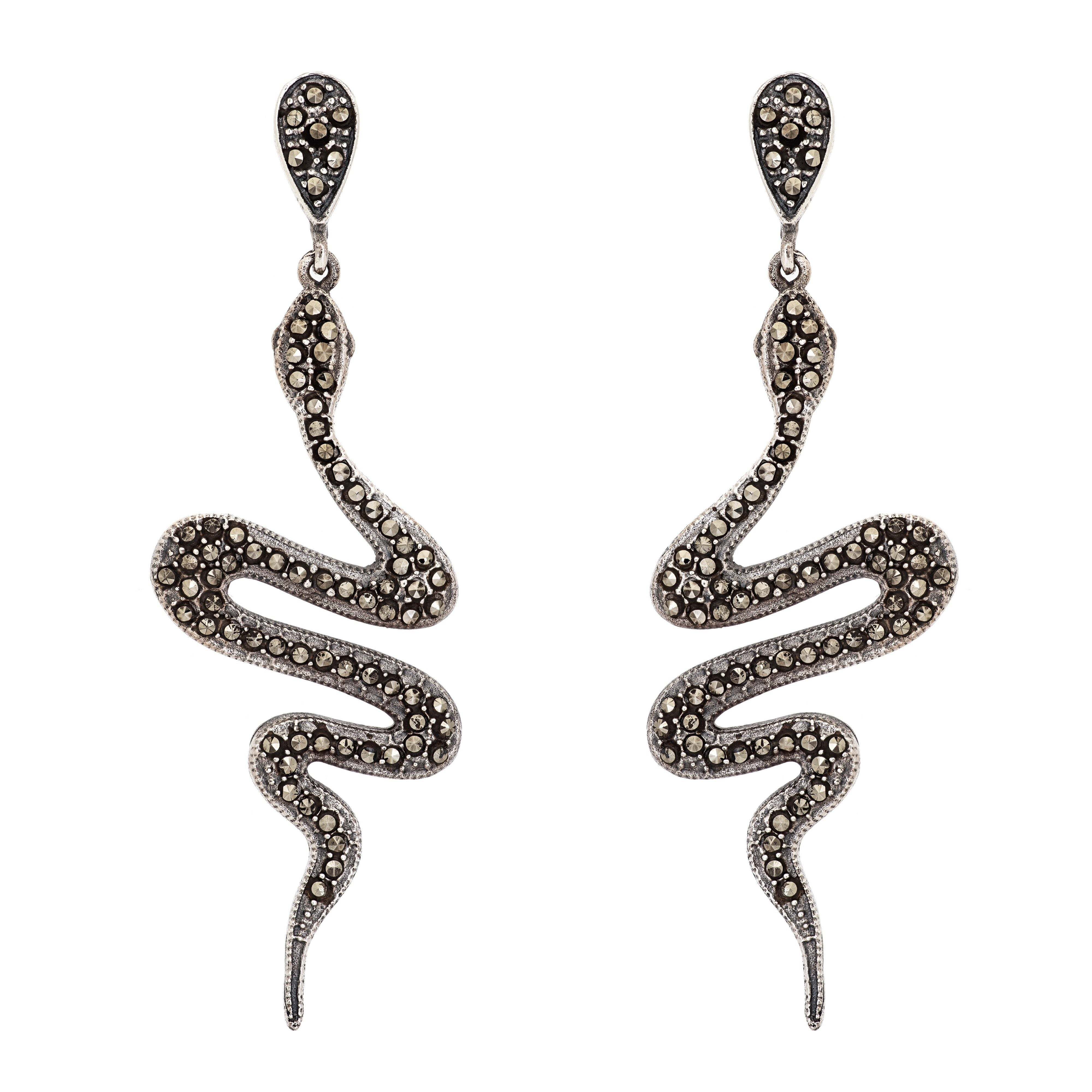 NAGA marcassite long earrings - MadamSiam
