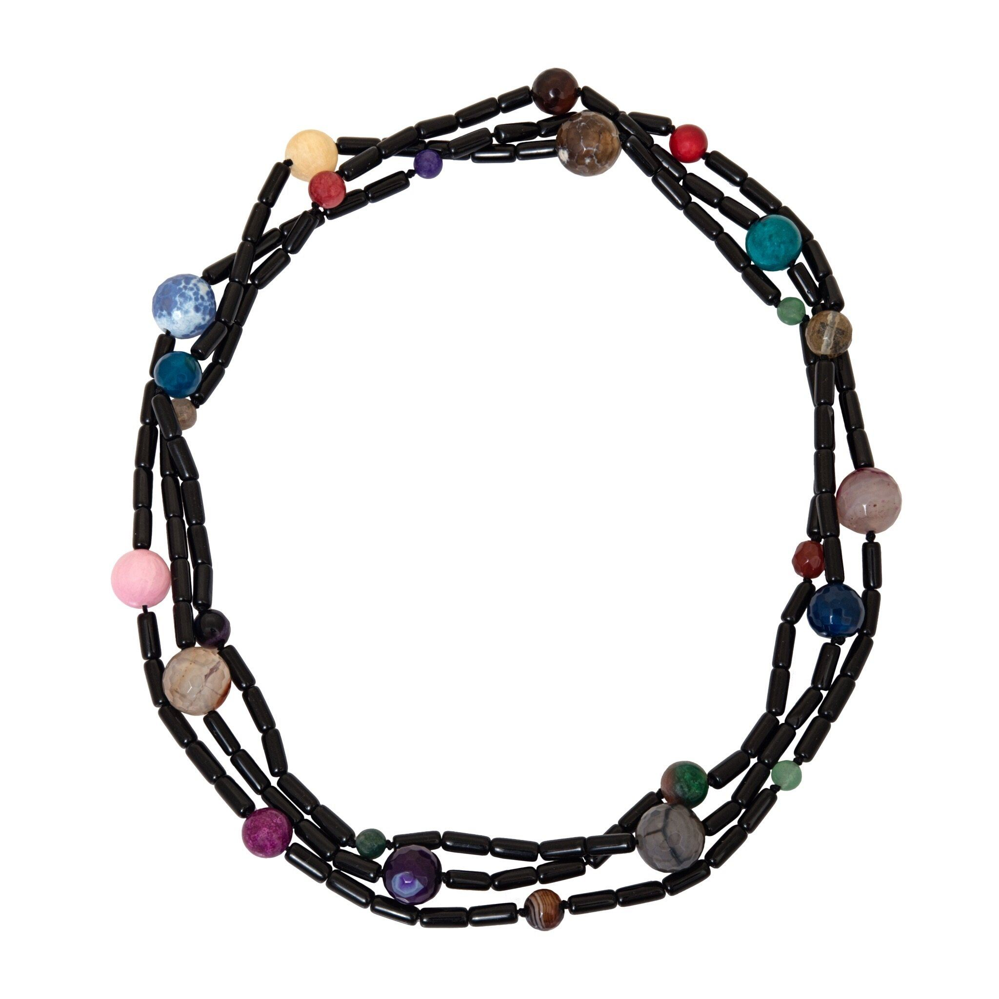 ROMA multicolor onyx long necklace - MadamSiam