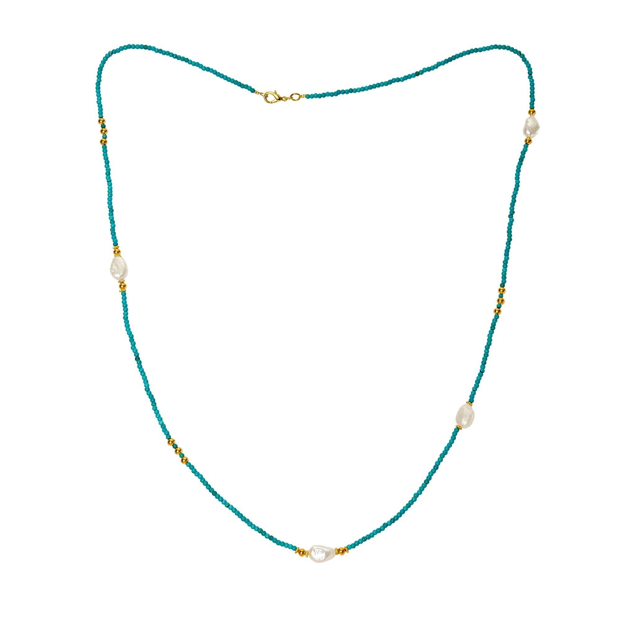 KIMUKA pearls and turquoise necklace - MadamSiam