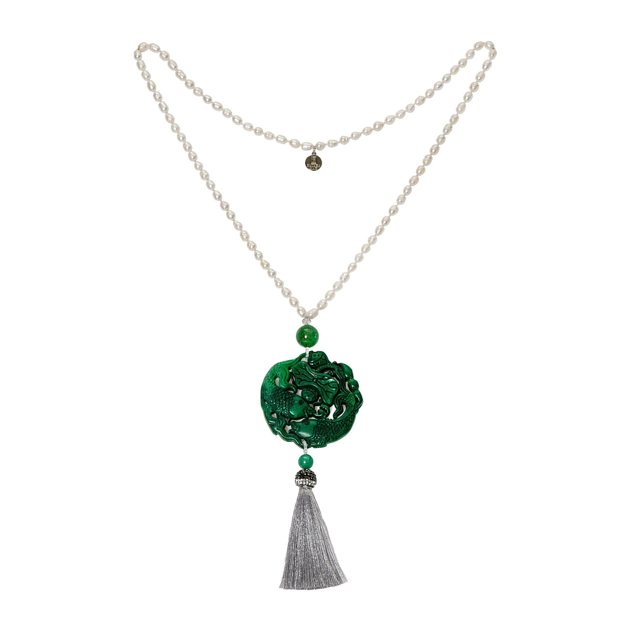 PEKIN pearls and green necklace - MadamSiam