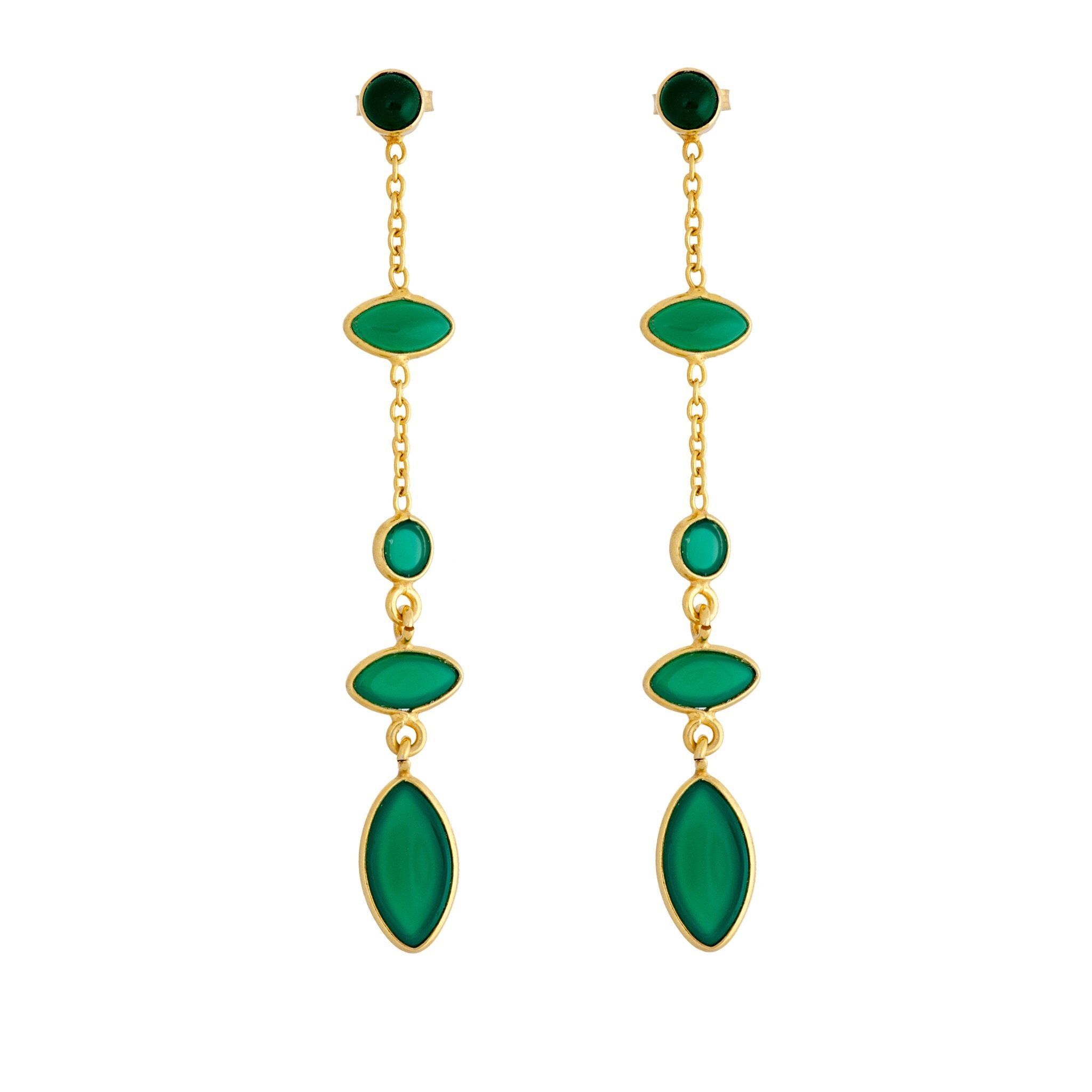 TA green onyx earrings