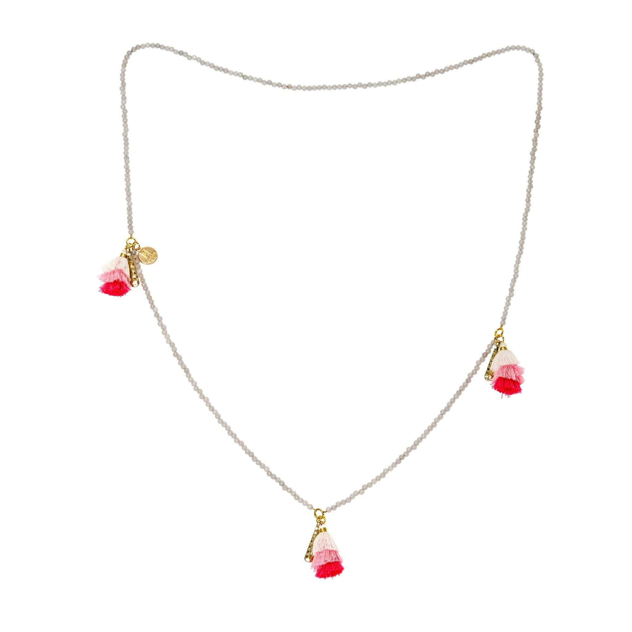 Praka moonstone and pink tassels necklace - MadamSiam