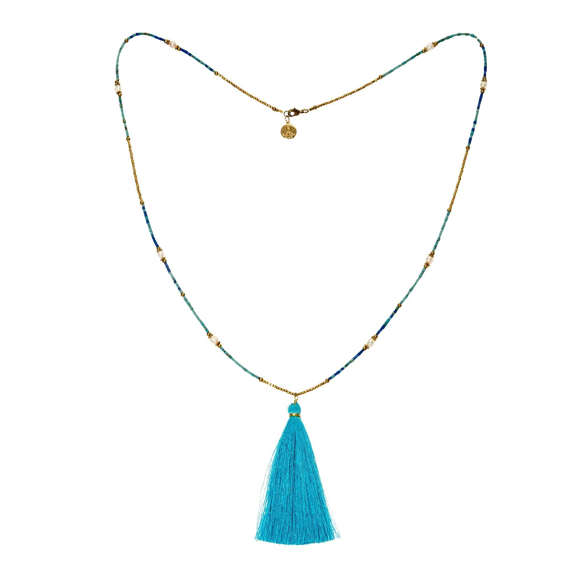 PLAYA blue tassel necklace - MadamSiam