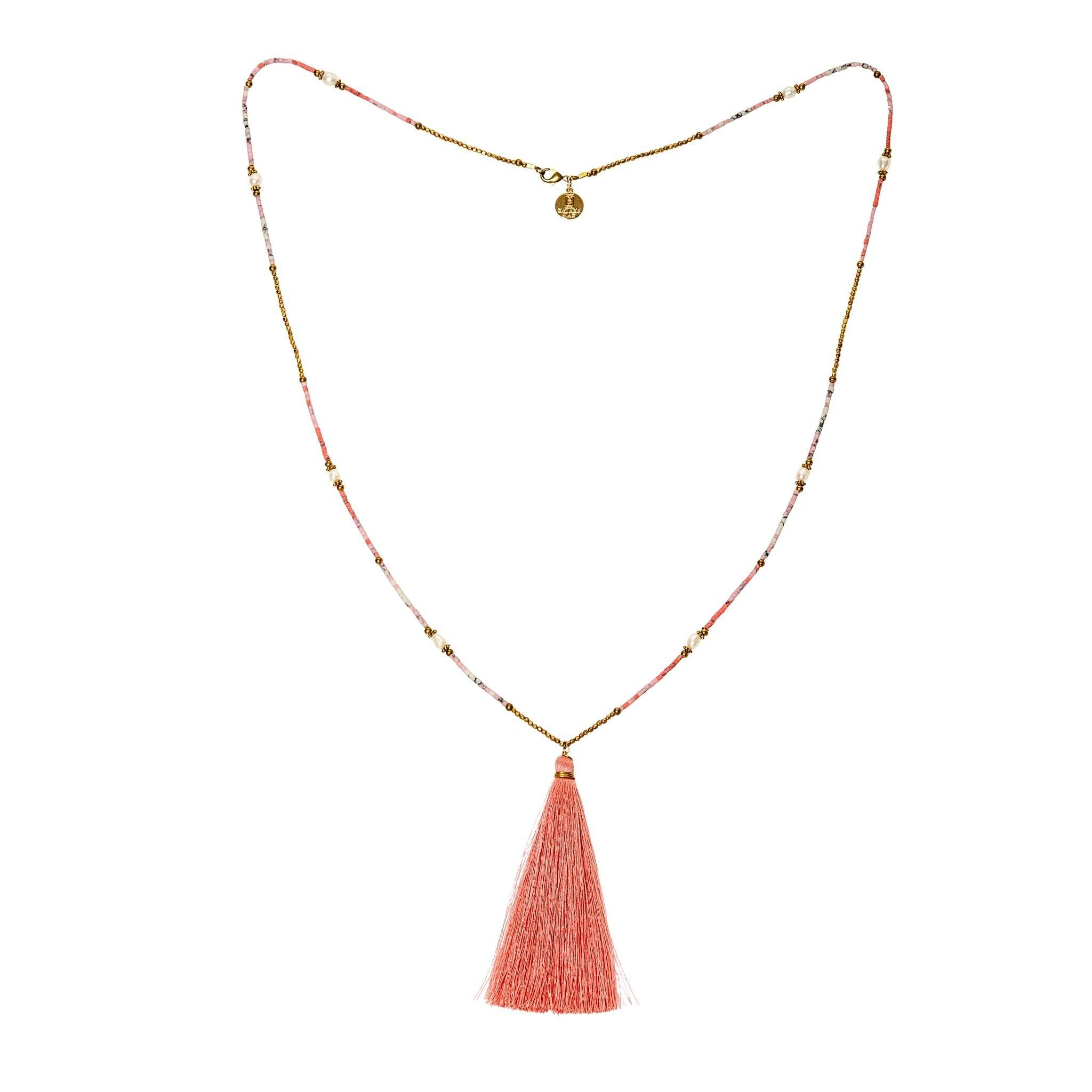 PLAYA pink tassel necklace - MadamSiam