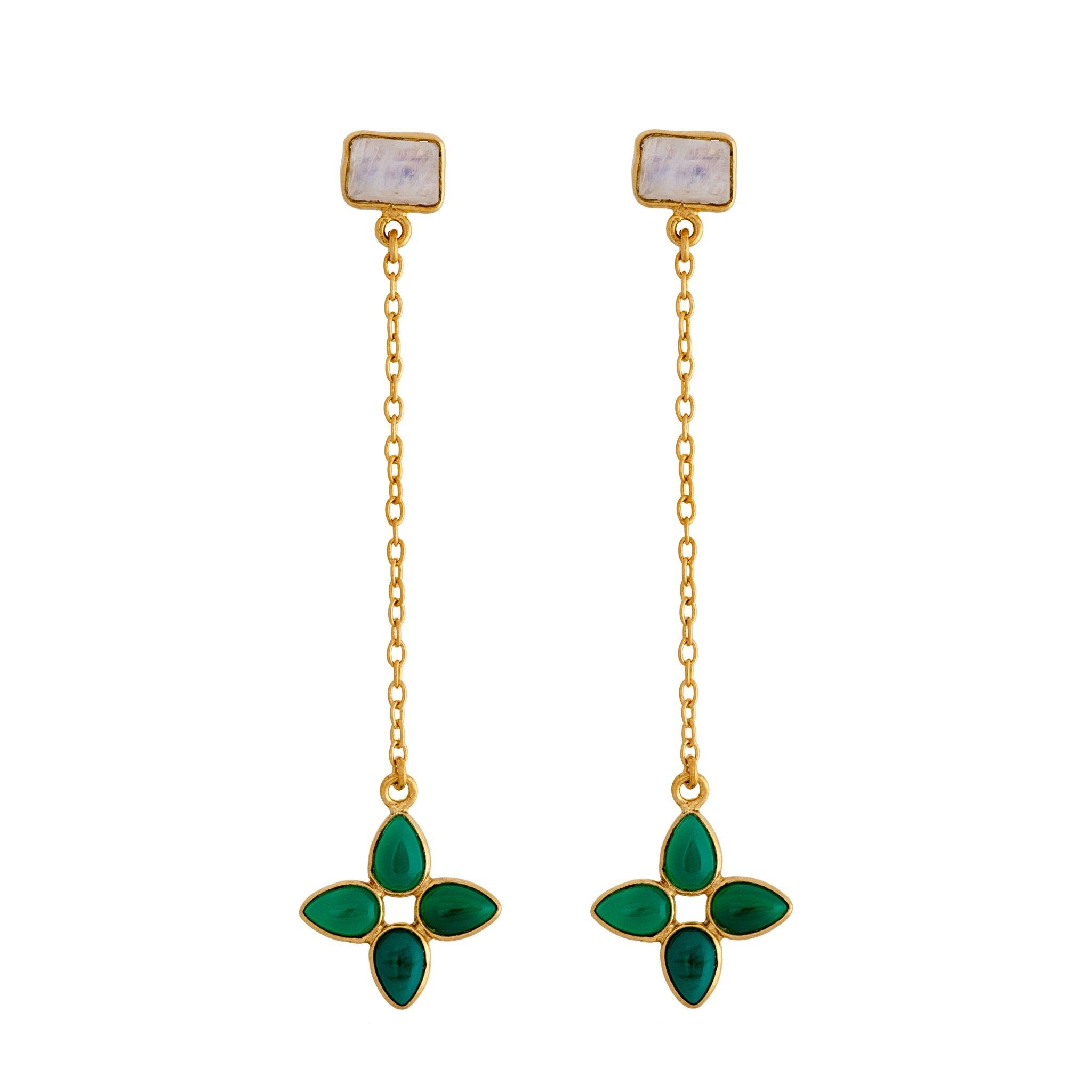 FLORA green onyx earrings - MadamSiam