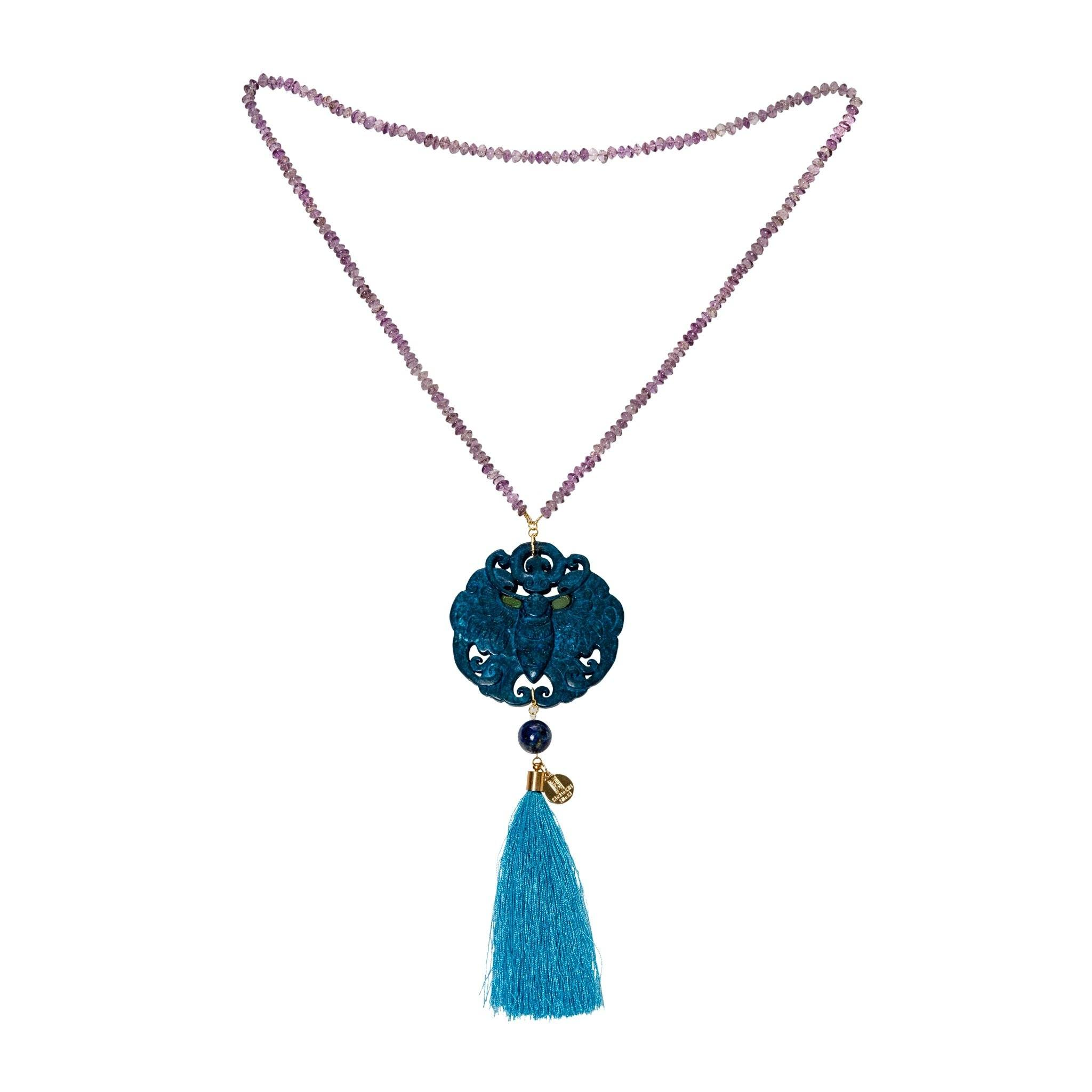 Hong Kong amethyst necklace with blue pendant - MadamSiam
