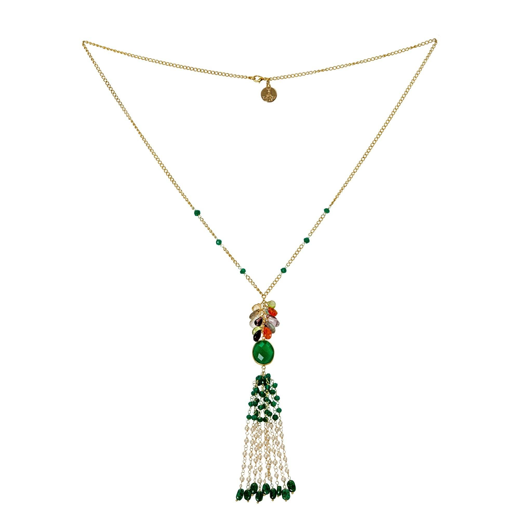 MAY green onyx tassel necklace - MadamSiam