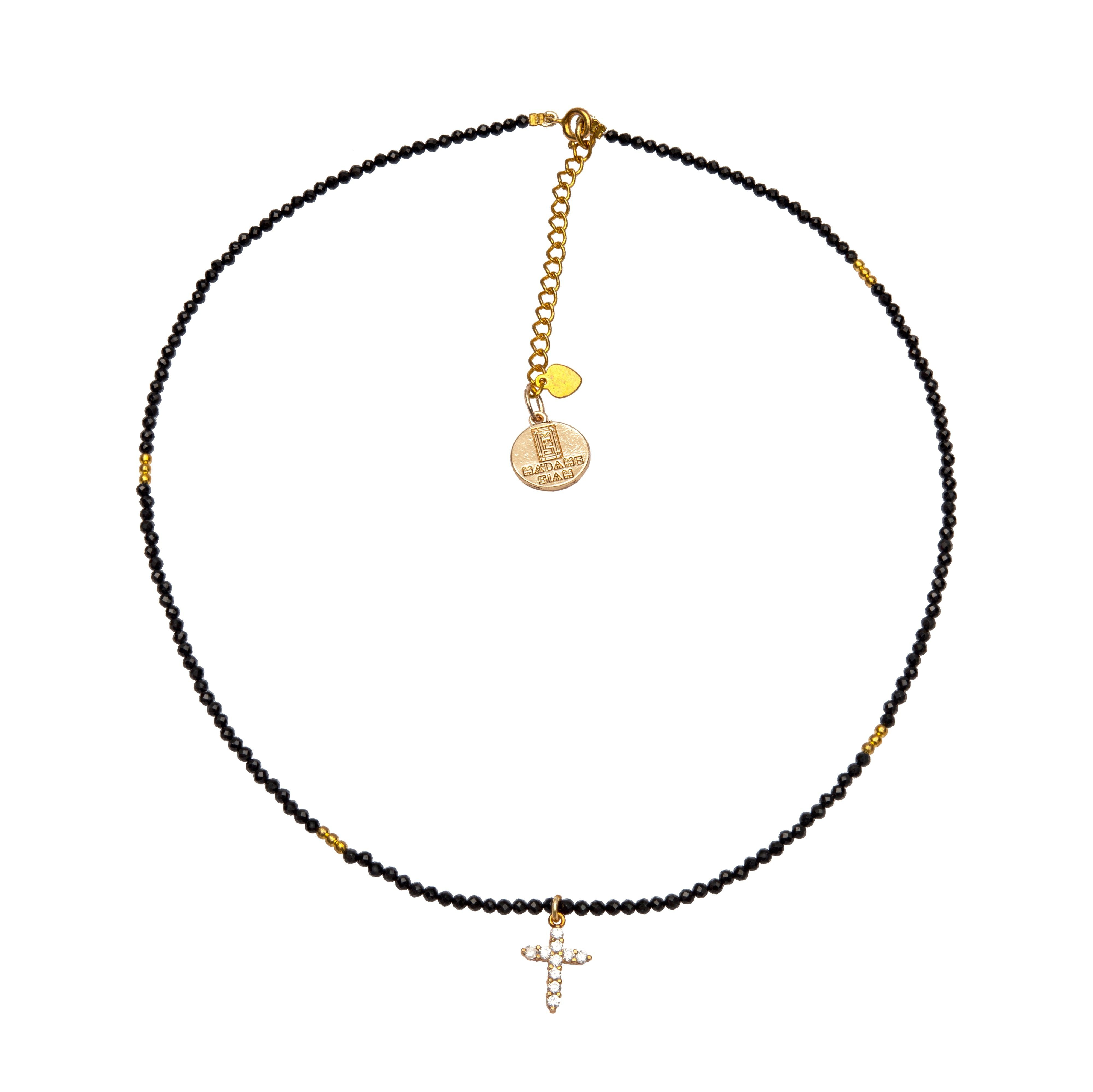 Ka Black onyx and zirconia cross chocker - MadamSiam
