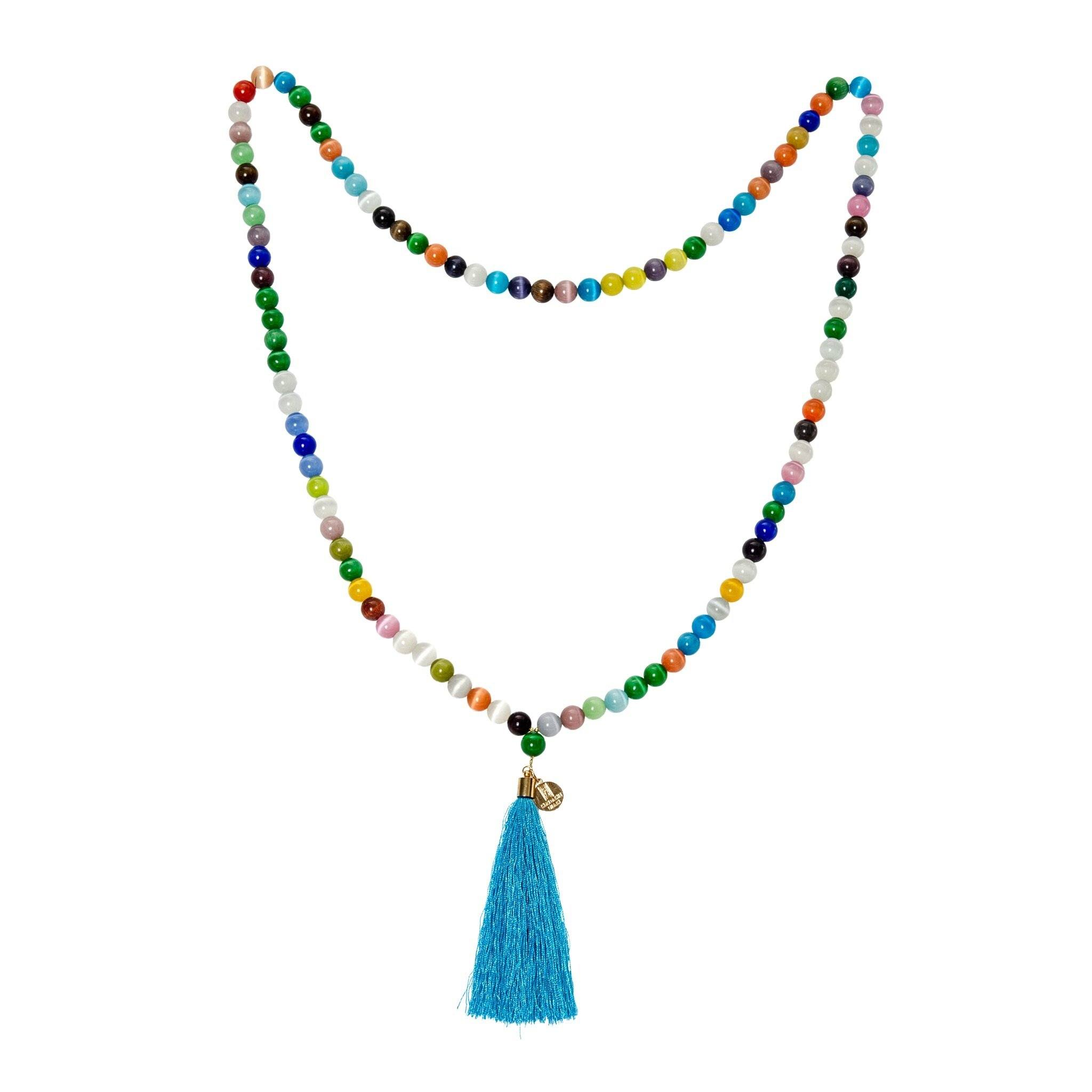 AGA pastel agate long tassel necklace