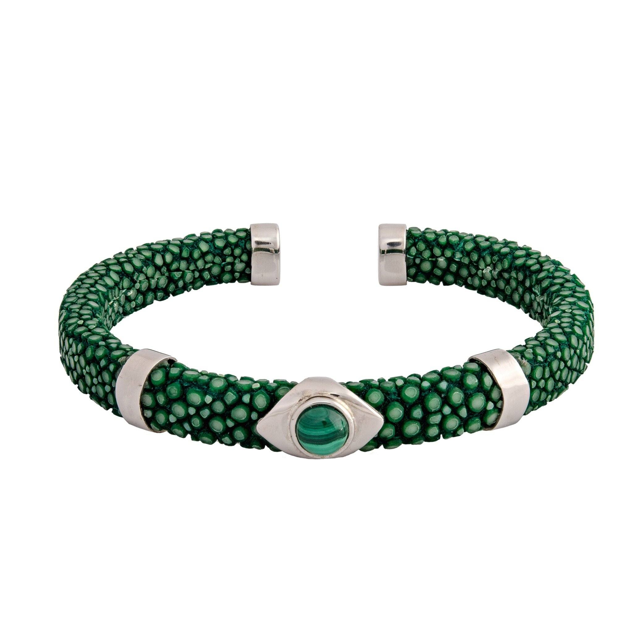 JAVA green onyx and stingray bangle - MadamSiam