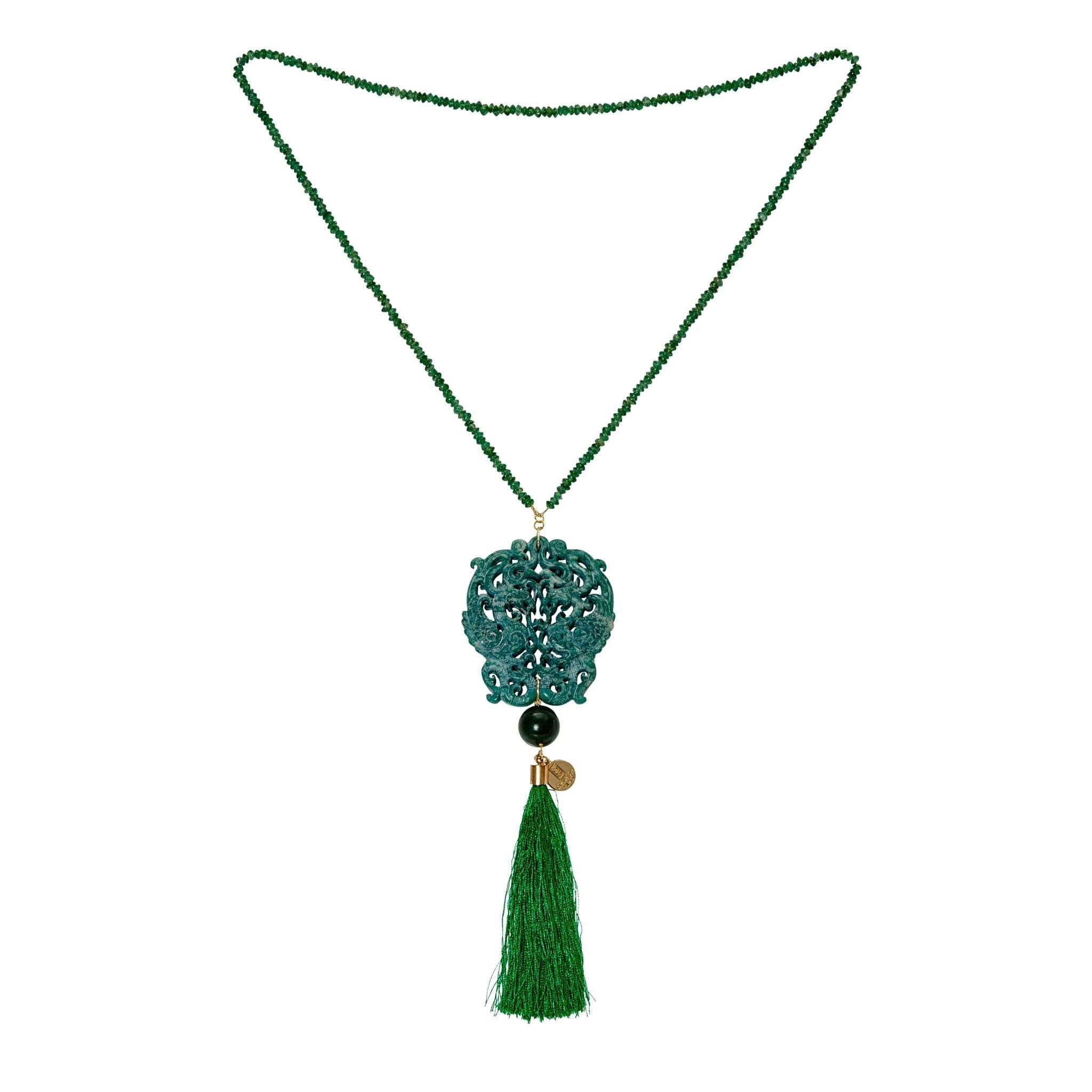 HONG KONG green onyx necklace - MadamSiam