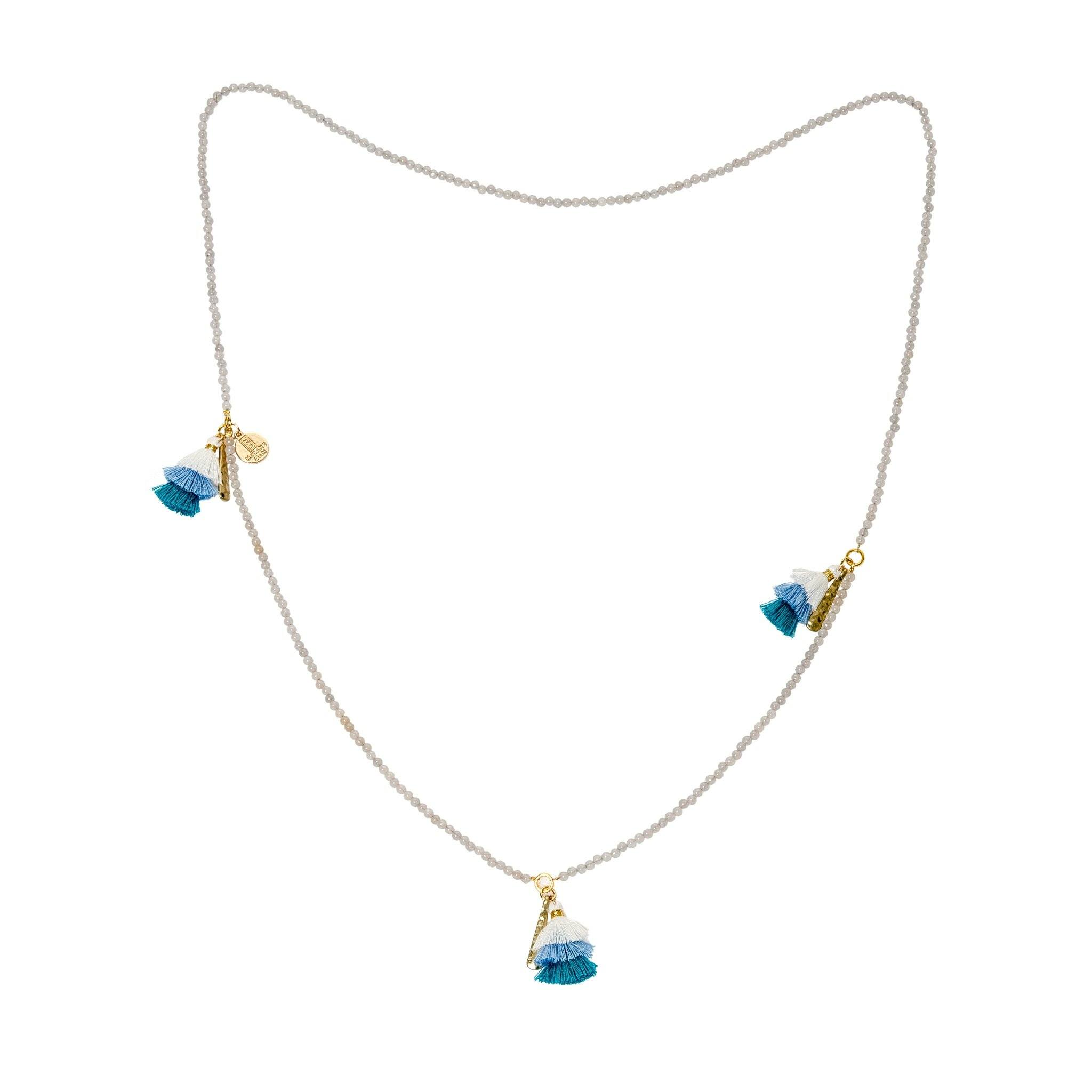 Praka moonstone and blue tassels necklace - MadamSiam