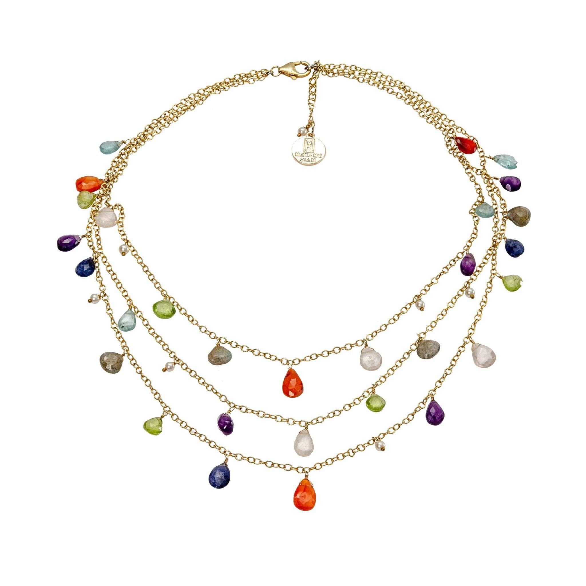 Nahm semi precious multicolor 3 lines chocker - MadamSiam