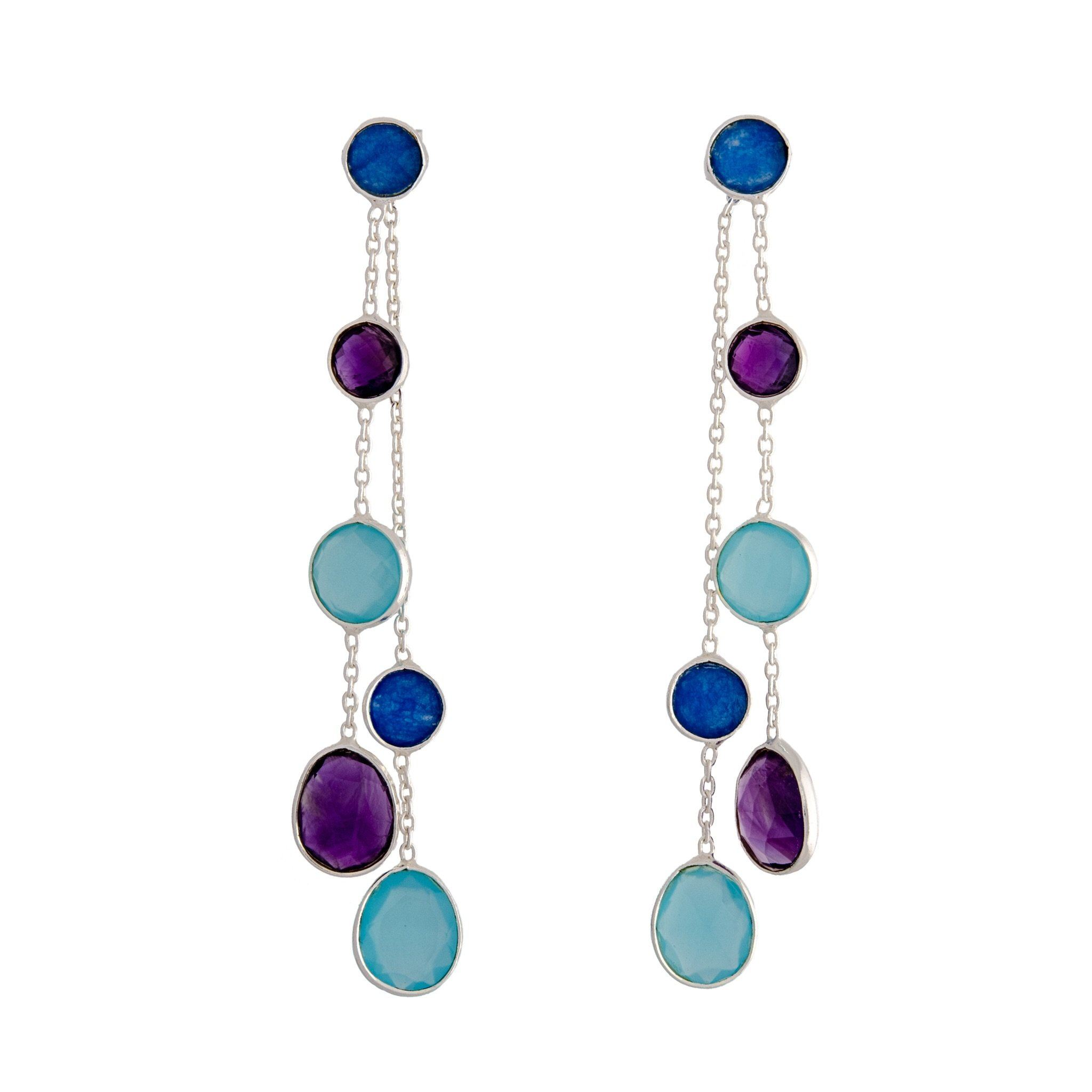 BUA blue chalcedony earrings - MadamSiam