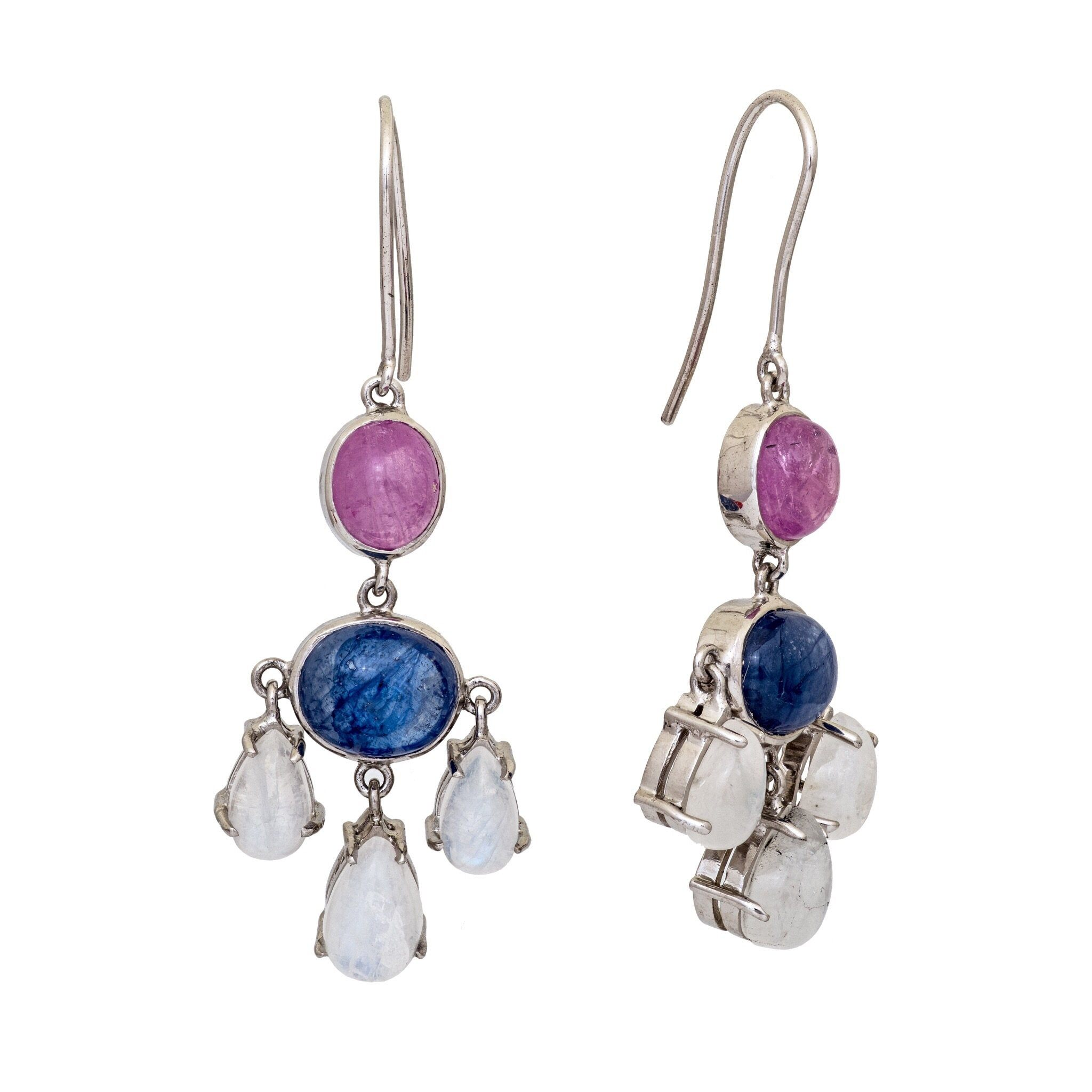 HAE ruby and moonstone chandelier earrings - MadamSiam
