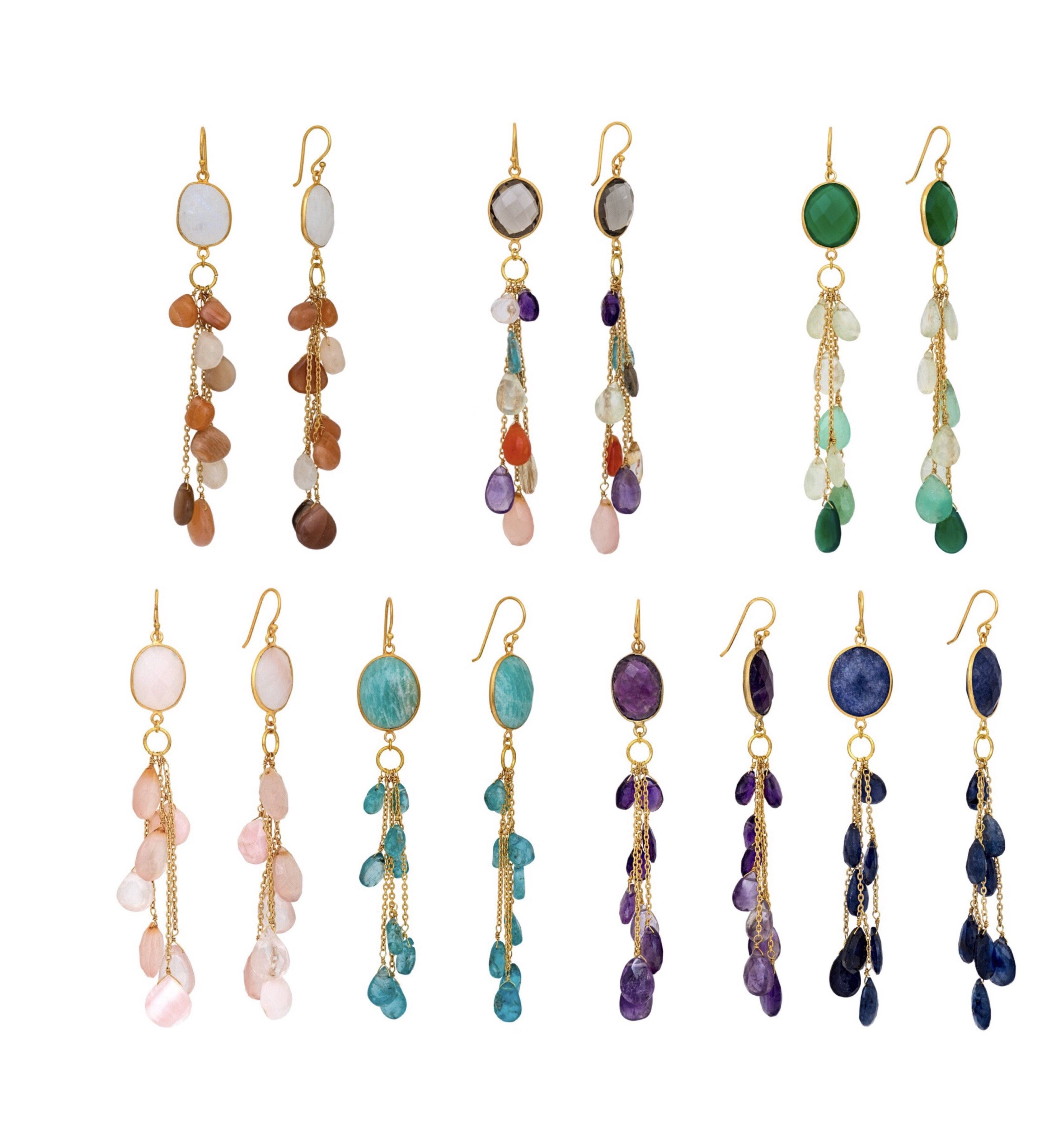 LUZ apatite cluster long earrings