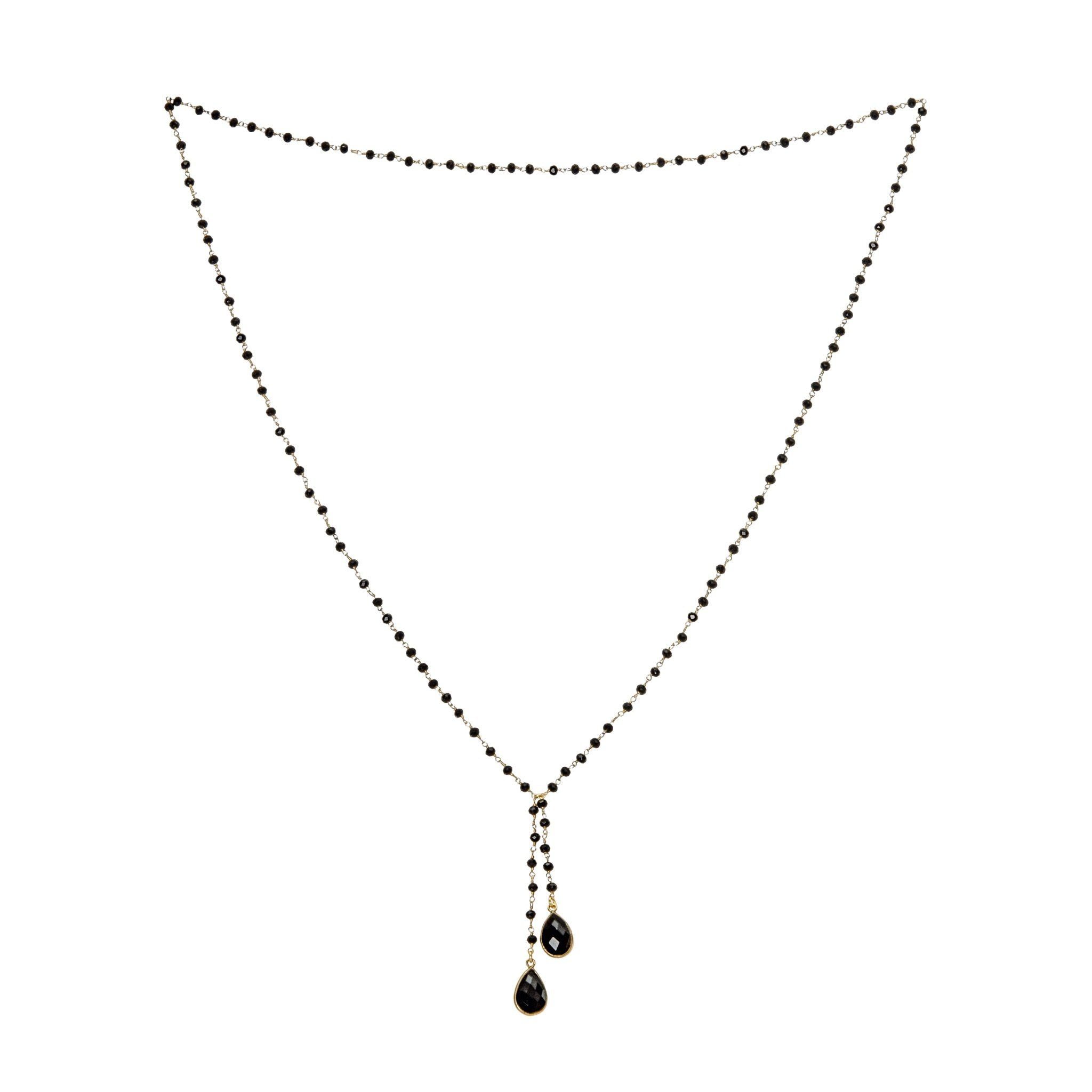 TOKA black onyx necklace with black onyx drops - MadamSiam
