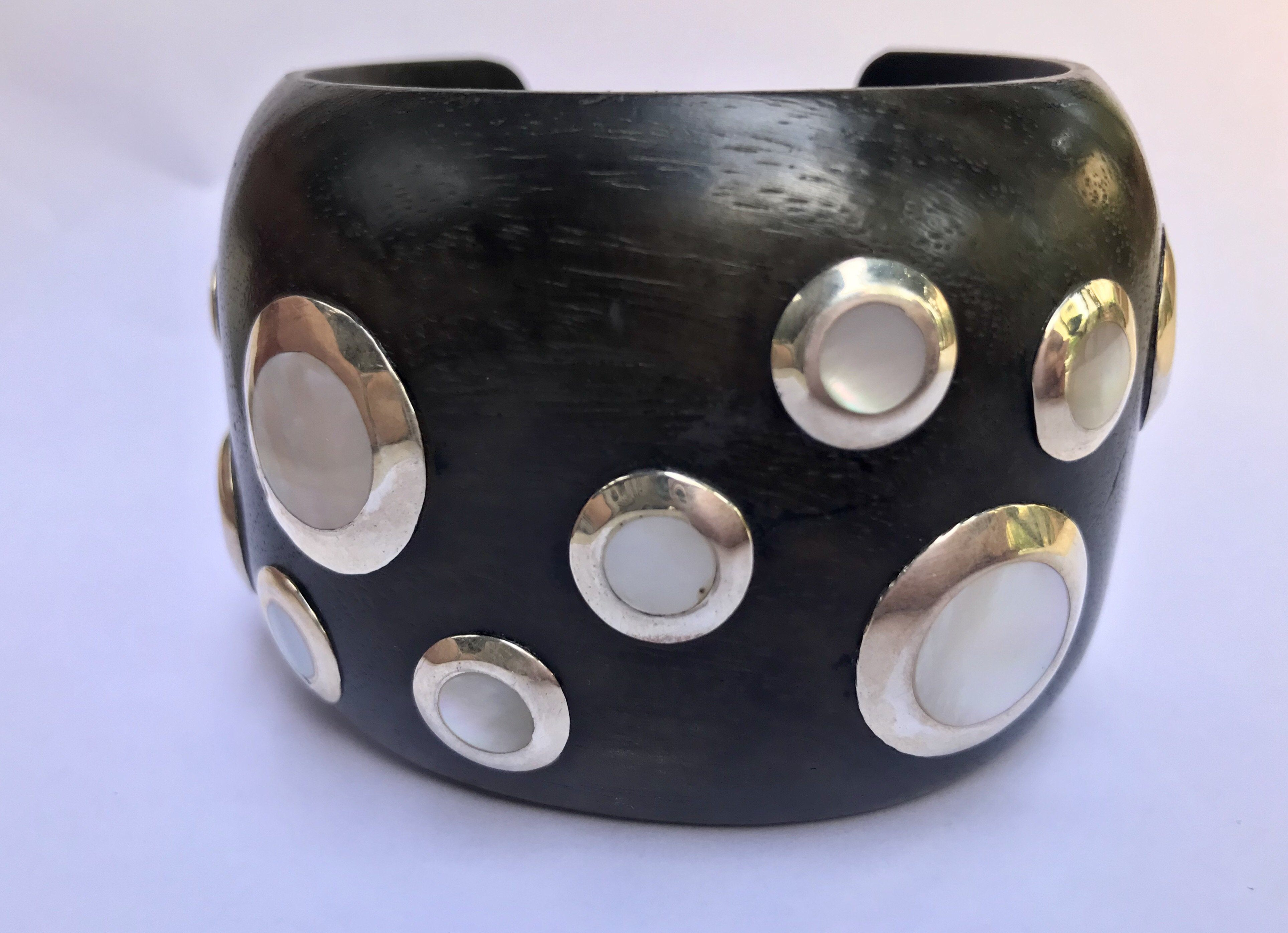 Gatsby Wood and mother of pearl bangle - MadamSiam