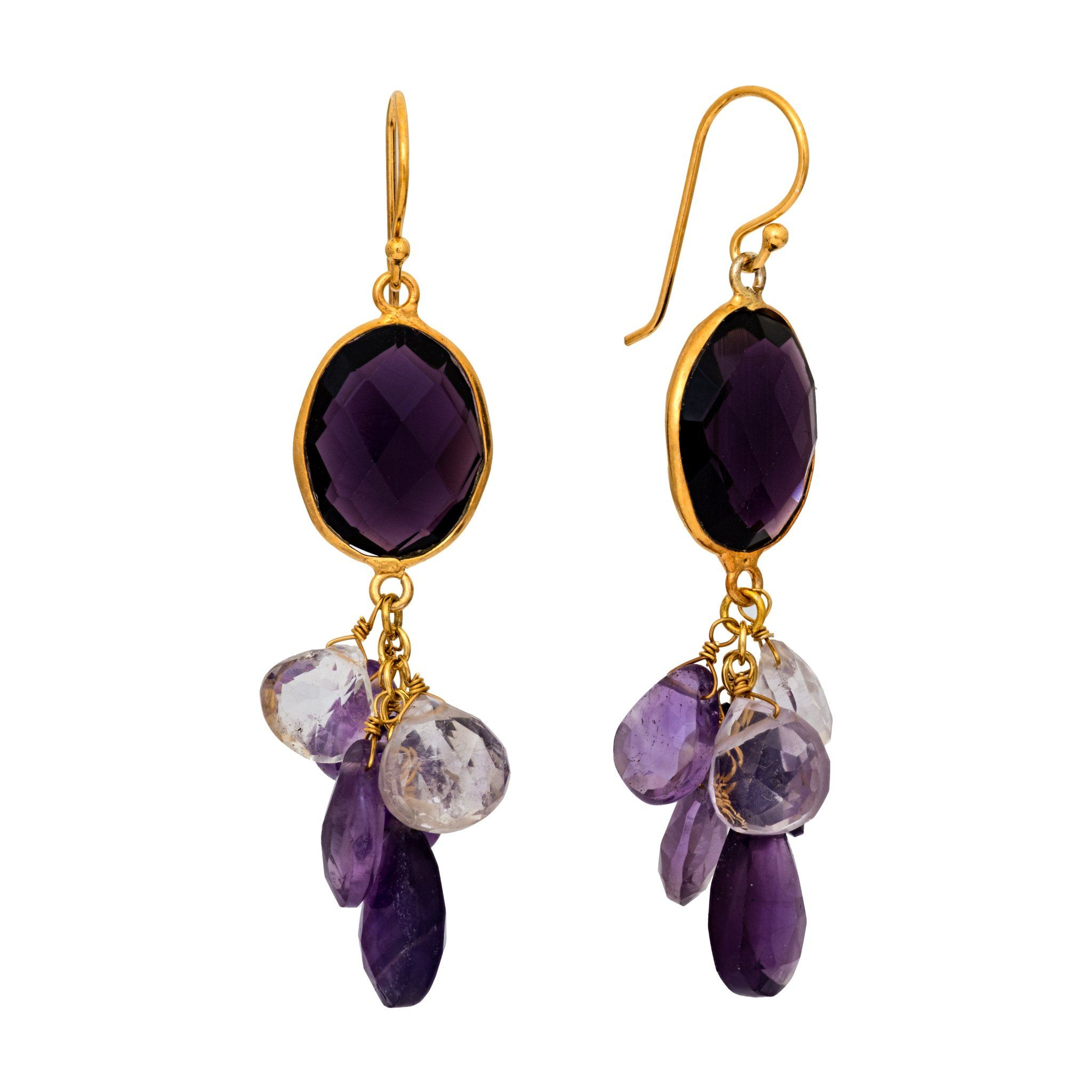 LUZ amethyst cluster earrings - MadamSiam