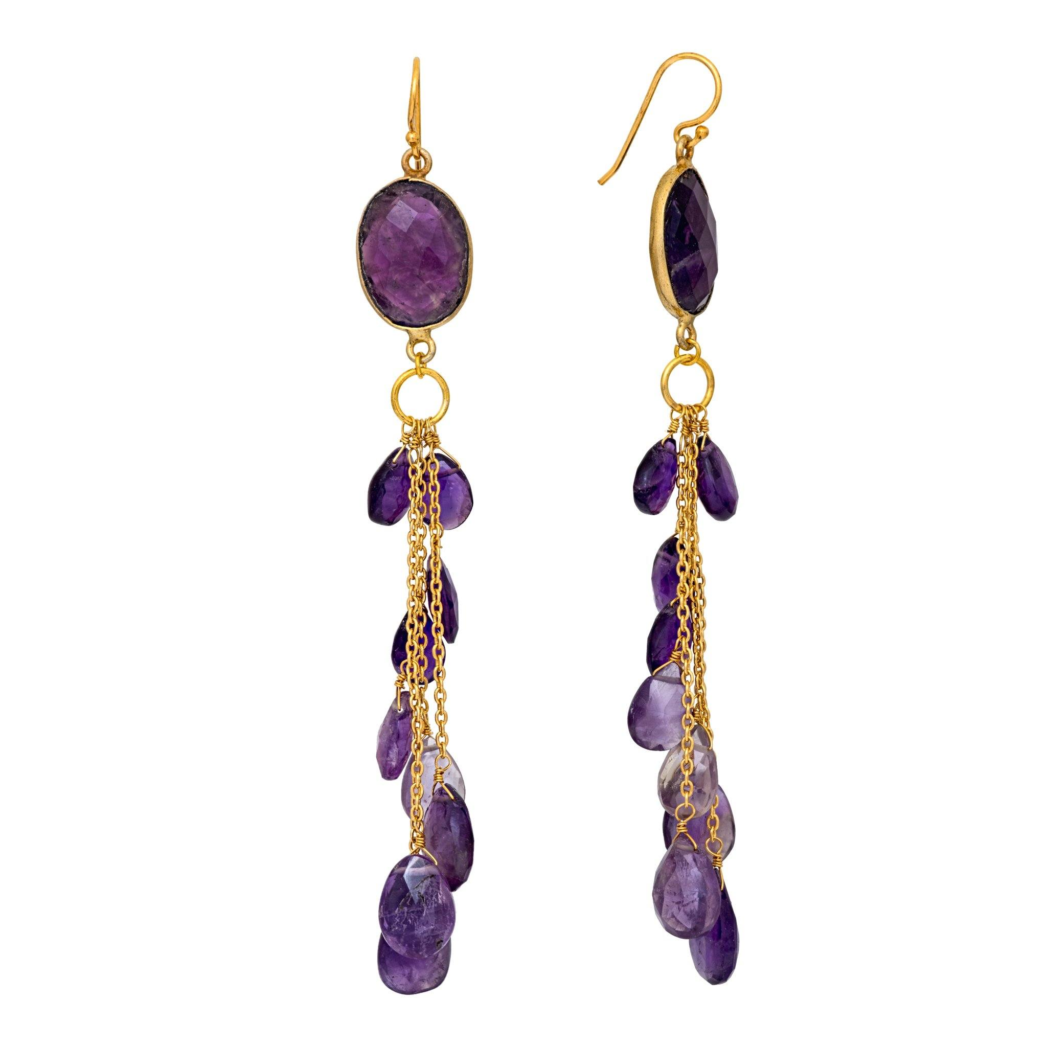 LUZ amethyst cluster long earrings - MadamSiam