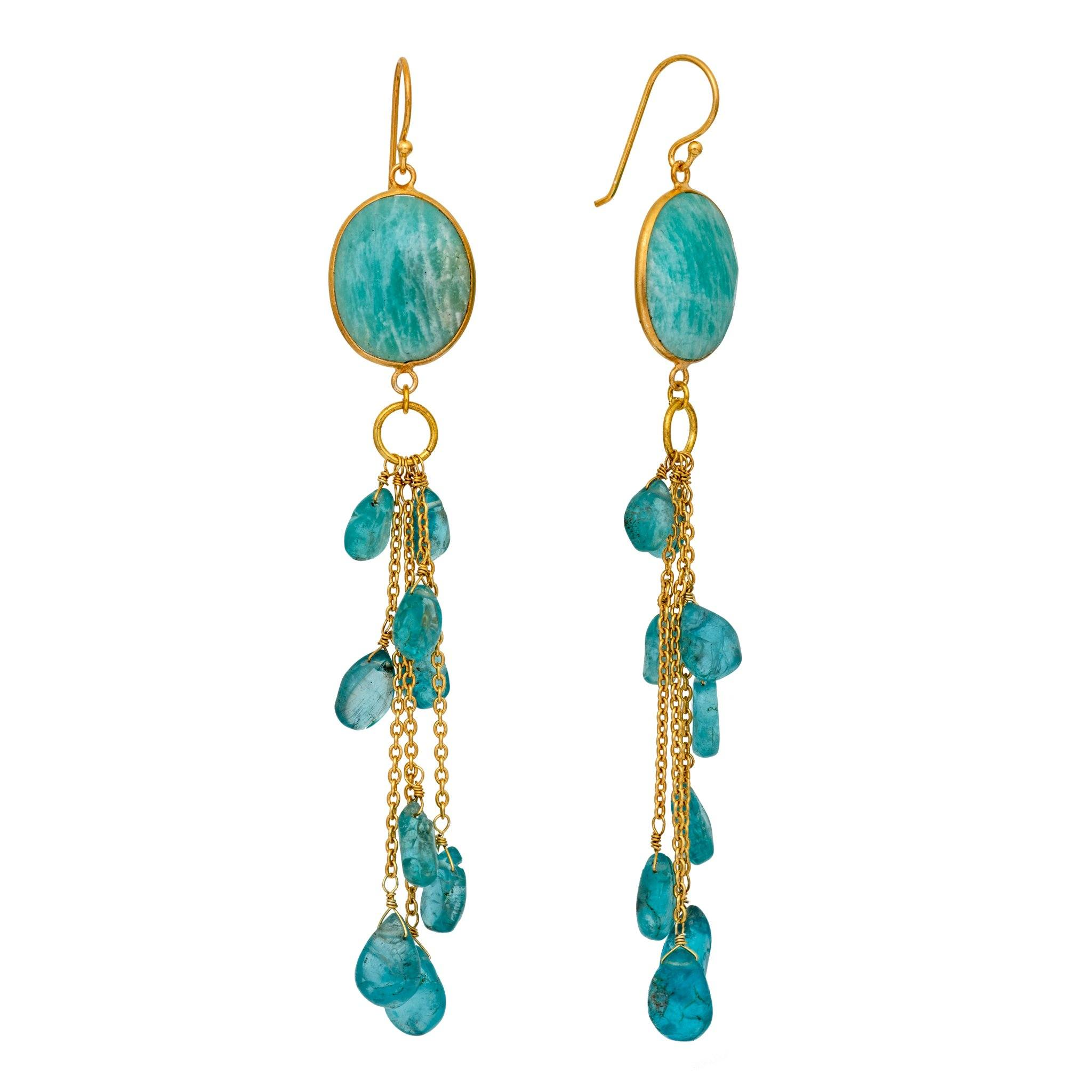 LUZ apatite cluster long earrings - MadamSiam