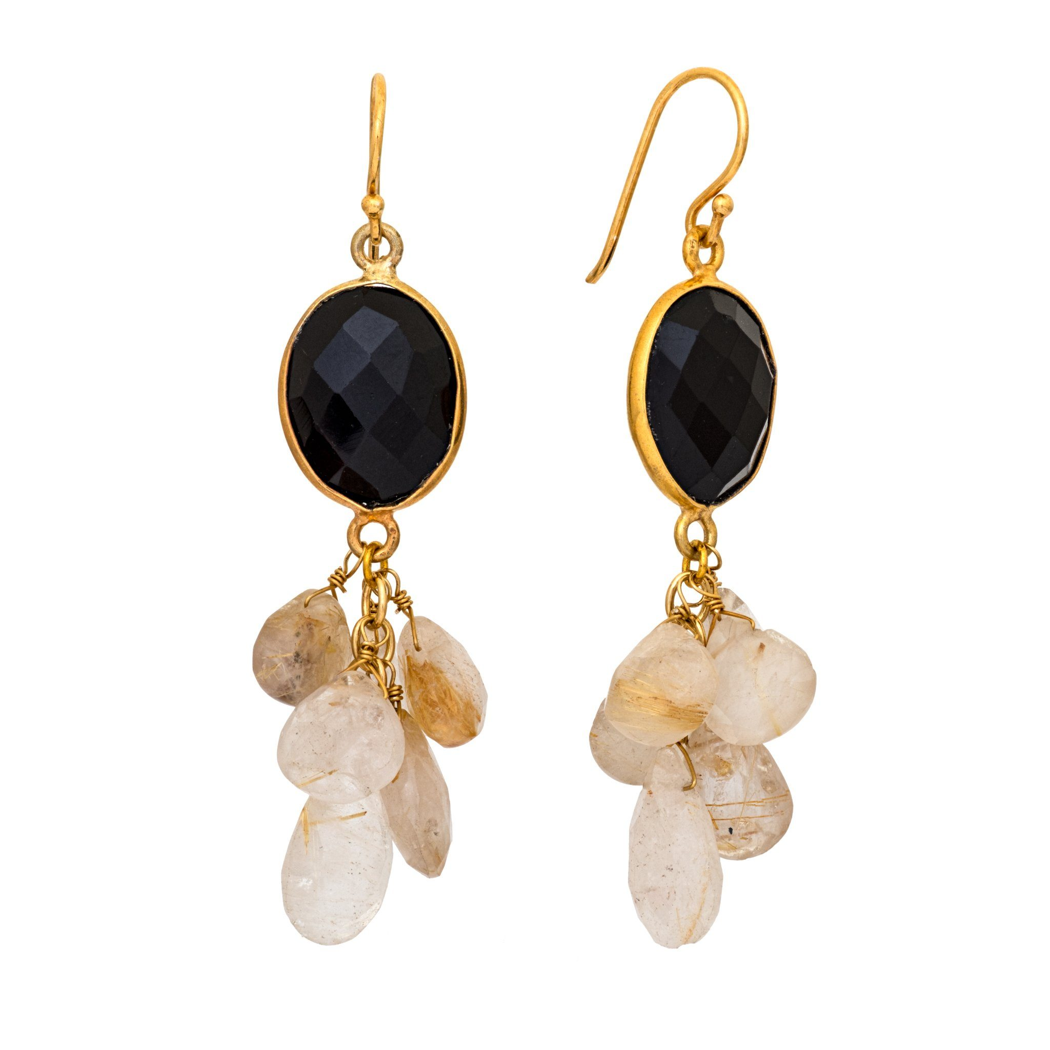 LUZ black onyx and rutile cluster earrings