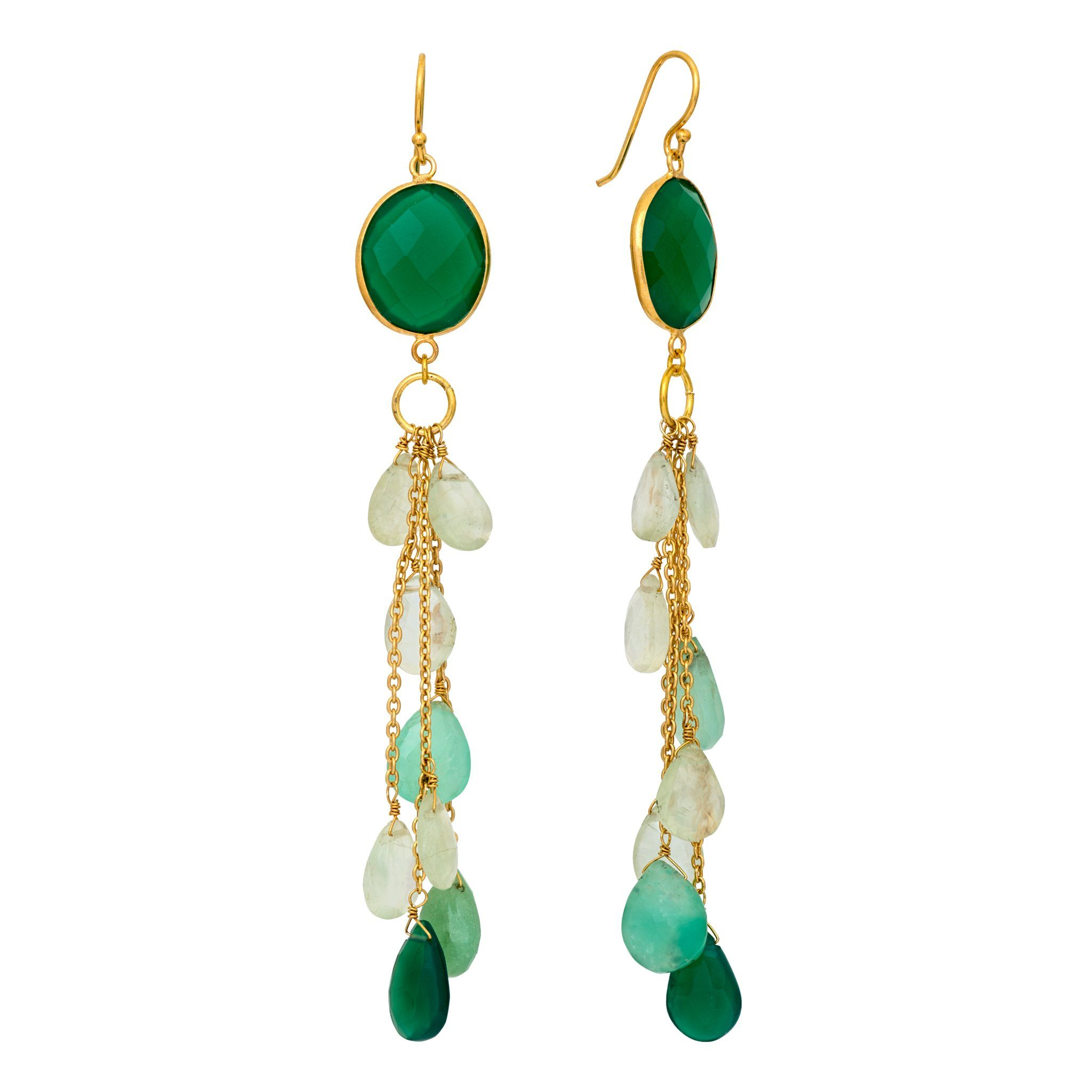 LUZ green onyx cluster long earrings