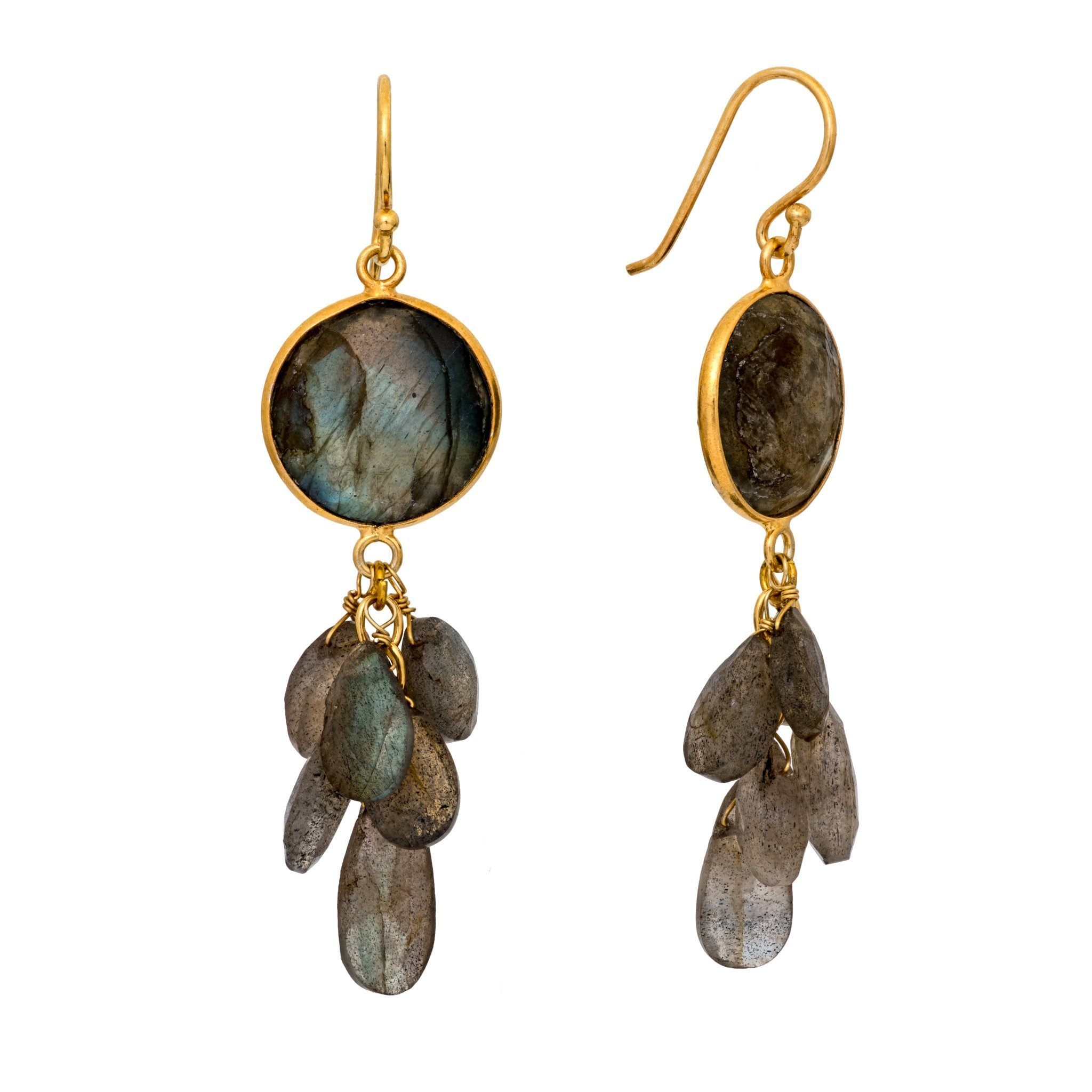 LUZ labradorite cluster earrings